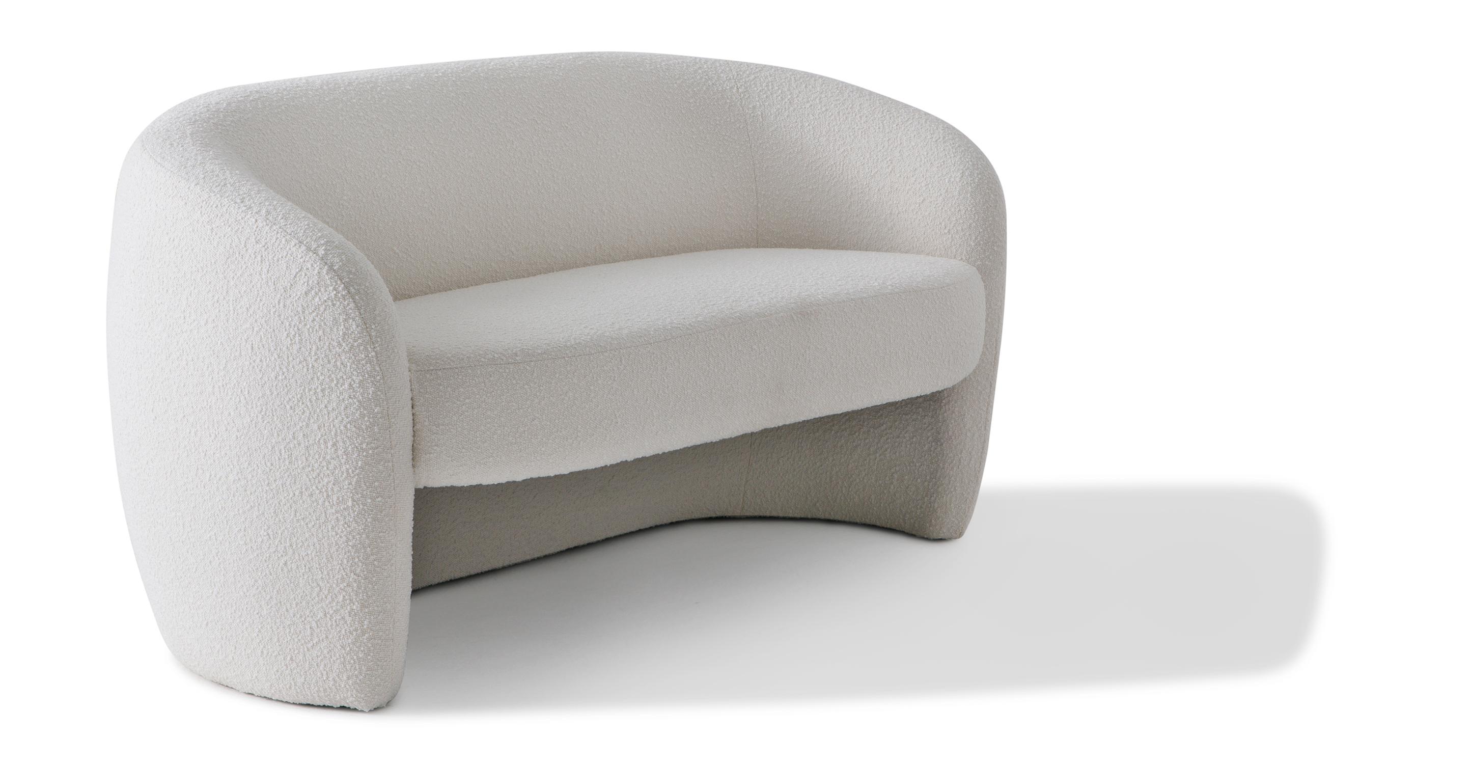 "Miranda 60"" Fabric Sofa, Blanc Boucle"
