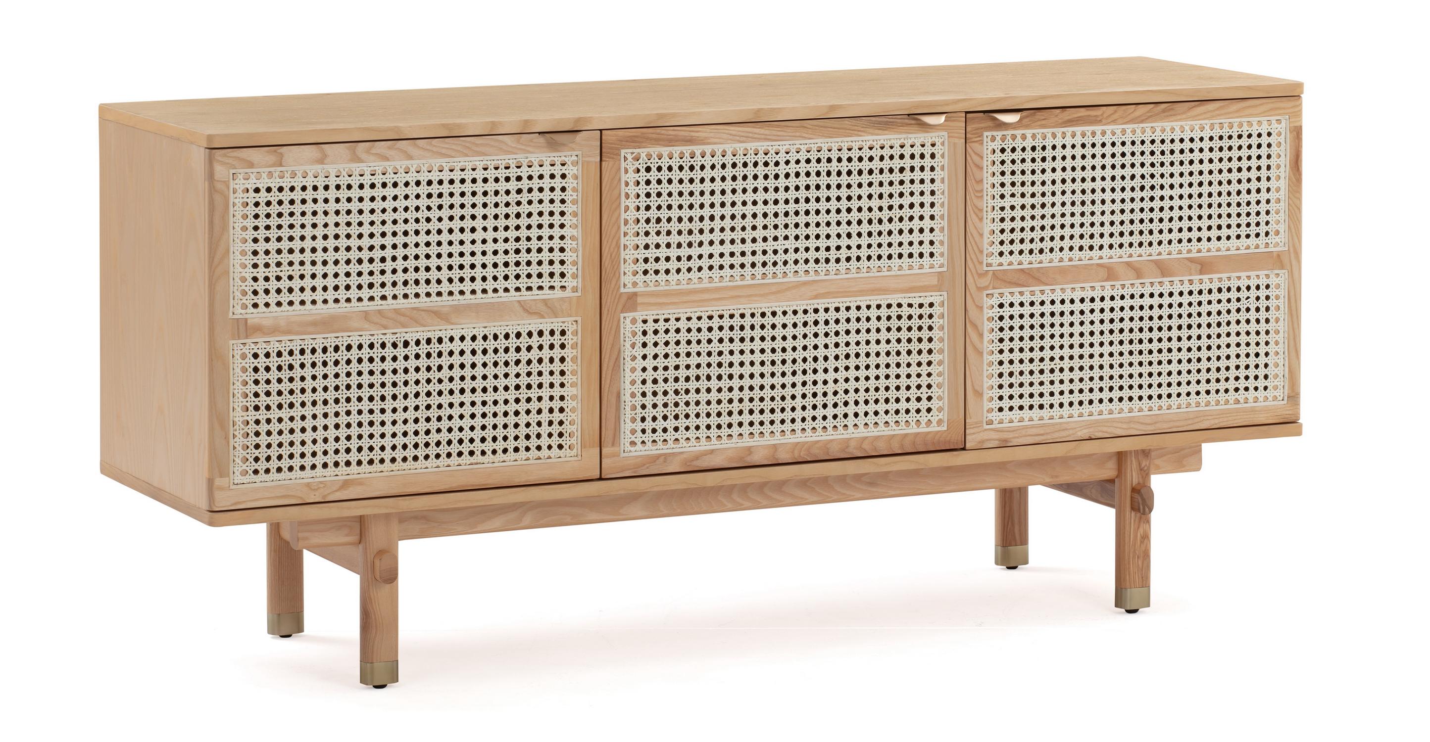 """Boho Wicker 63"""" Sideboard Cabinet, Natural Oak"""