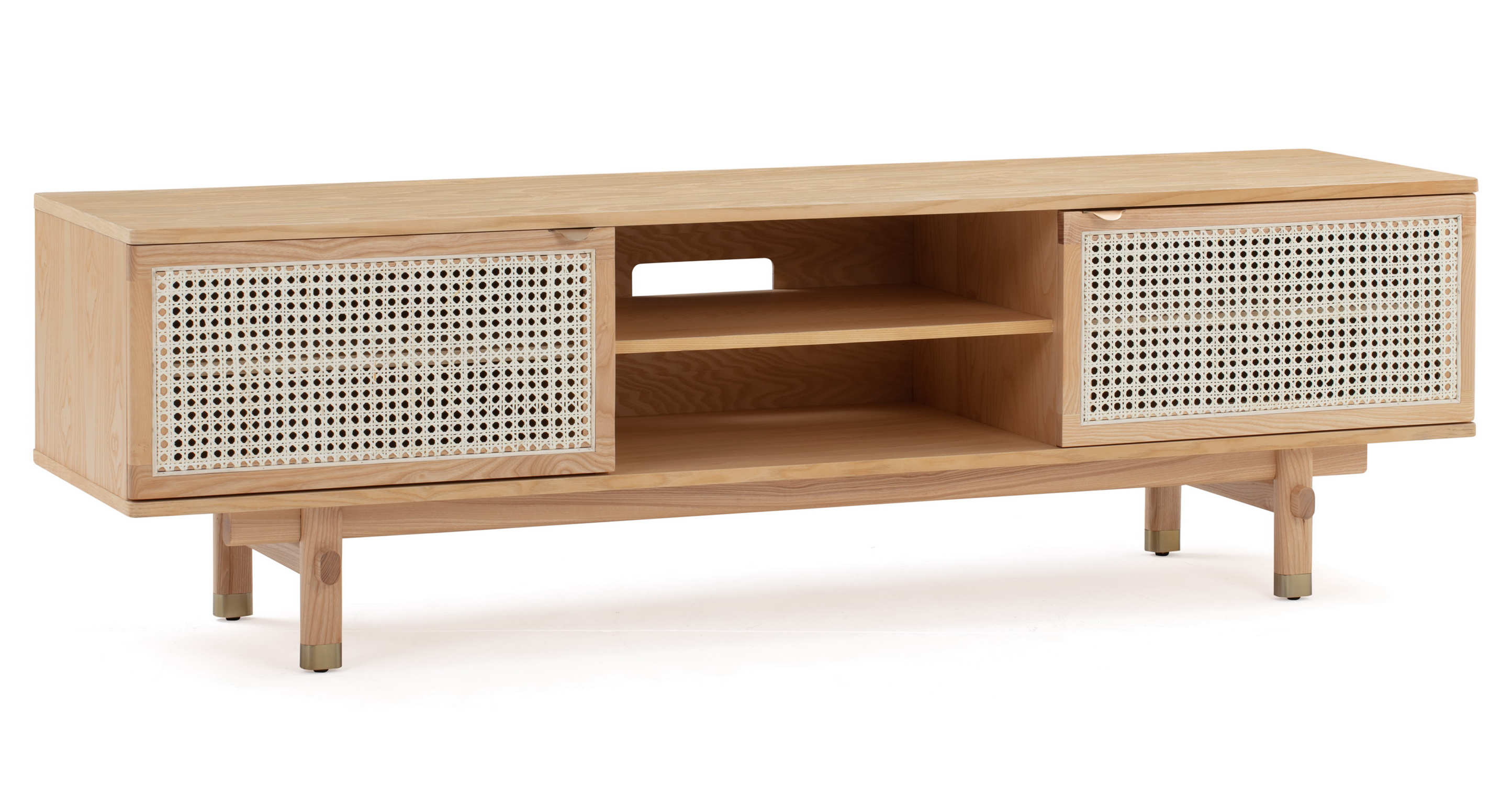 "Boho Wicker 71"" Media Cabinet, Natural Oak"