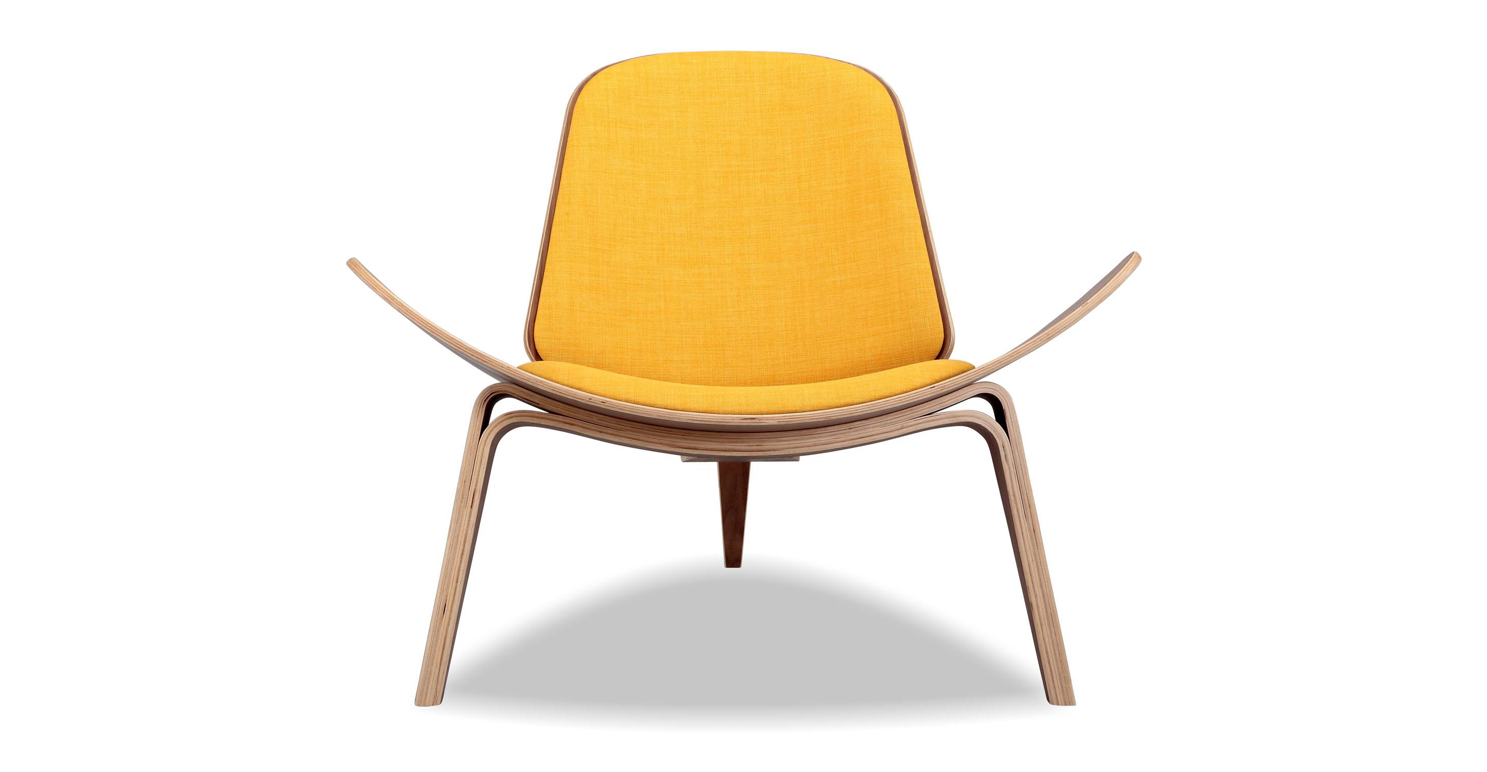 Tripod Fabric Chair 2-pc Set, Walnut/Citrine