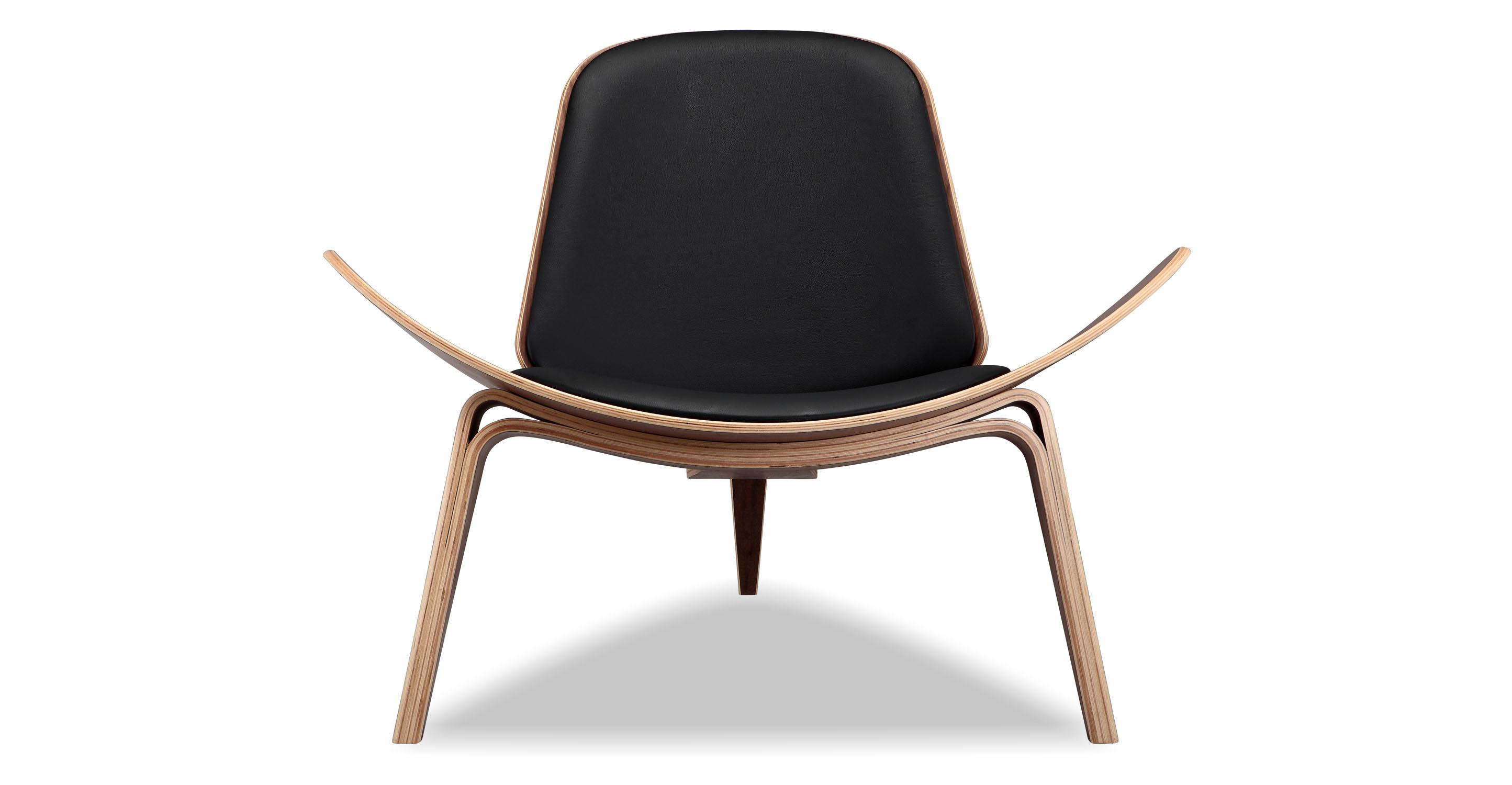Tripod Leather Chair 2-pc Set, Walnut/Black Italian