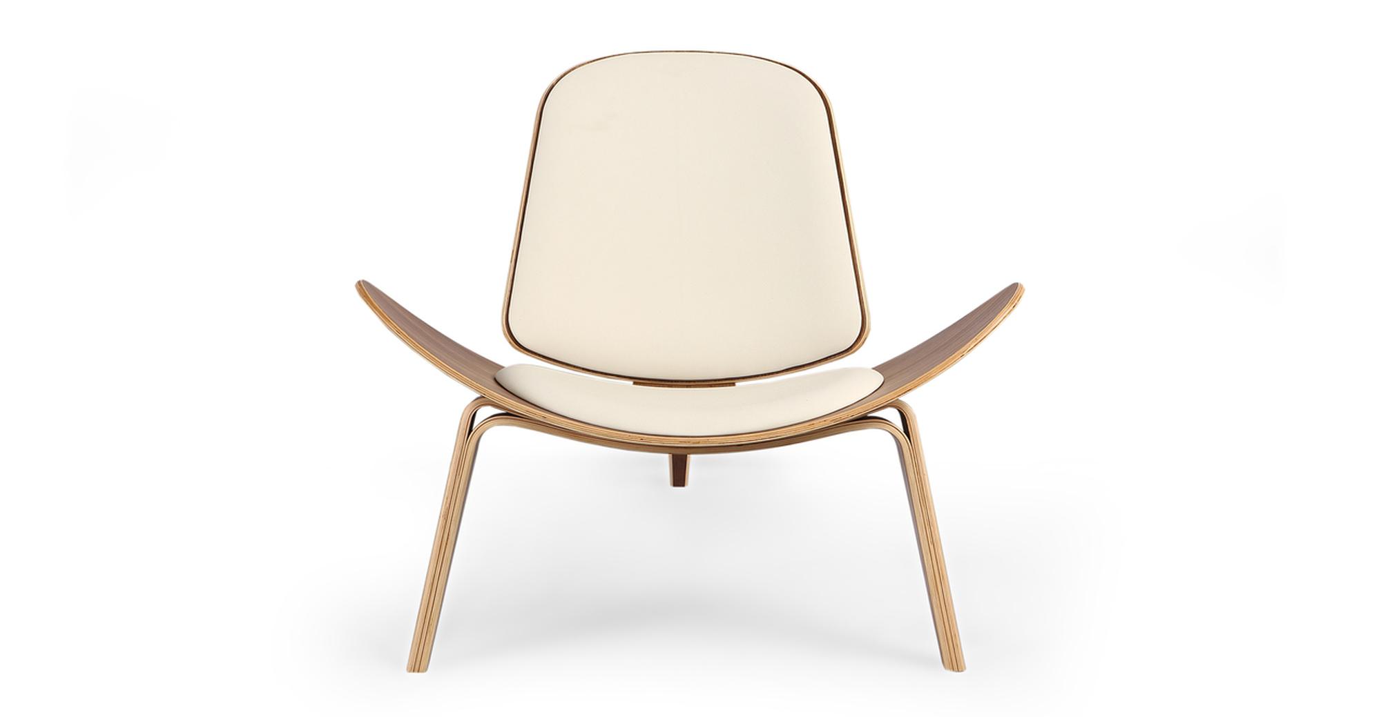 Tripod Leather Chair 2-pc Set, Walnut/Cream Italian