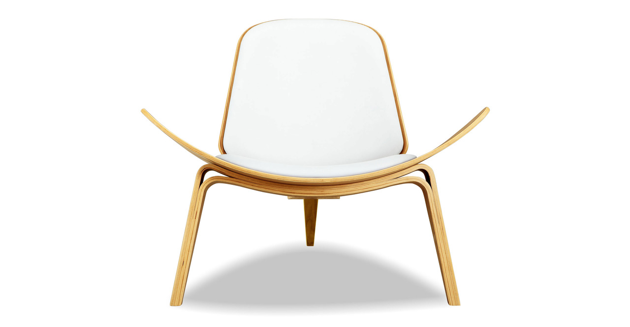 Tripod Leather Chair 2-pc Set, Oak/White Italian