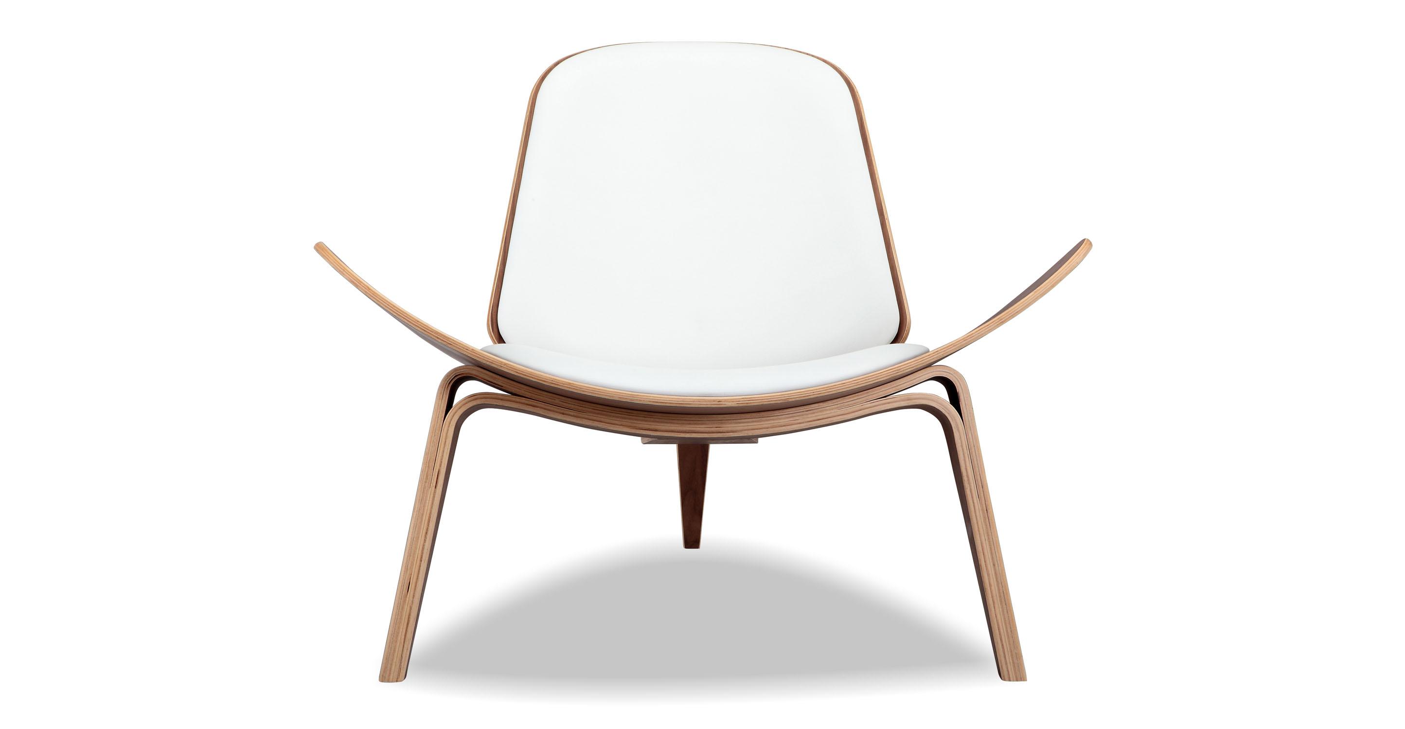 Tripod Leather Chair 2-pc Set, Walnut/White Italian