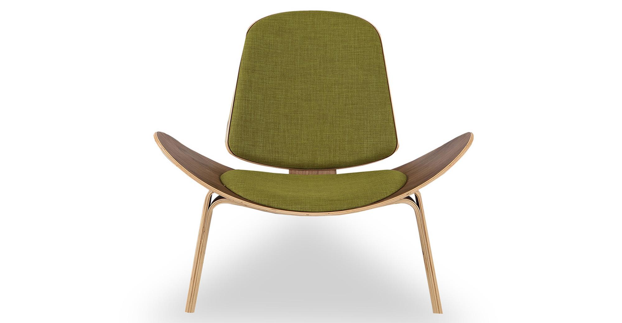 Tripod Fabric Chair 2-pc Set, Walnut/Atomic Moss