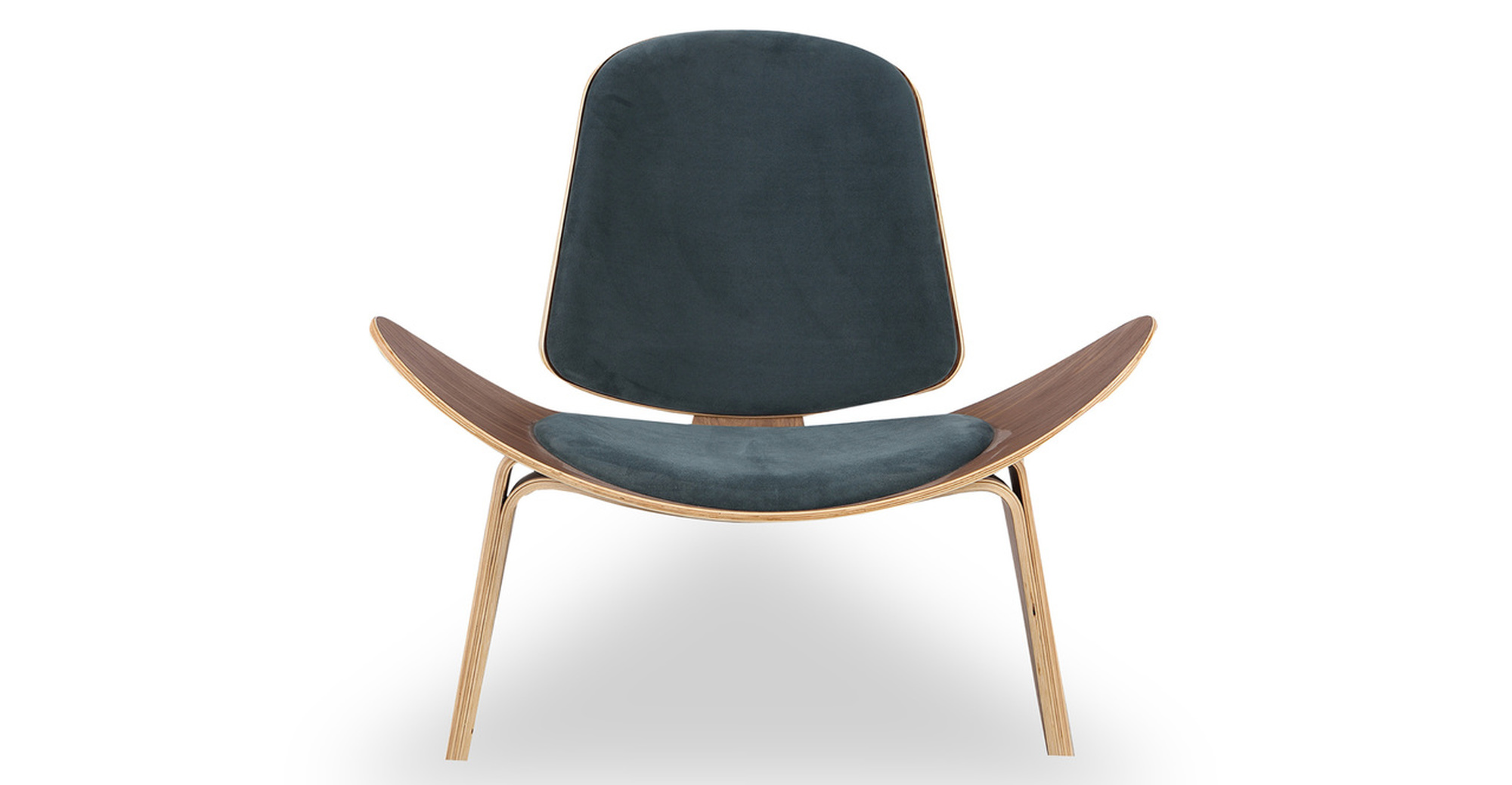 Tripod Fabric Chair 2-pc Set, Walnut/Neptune Velvet