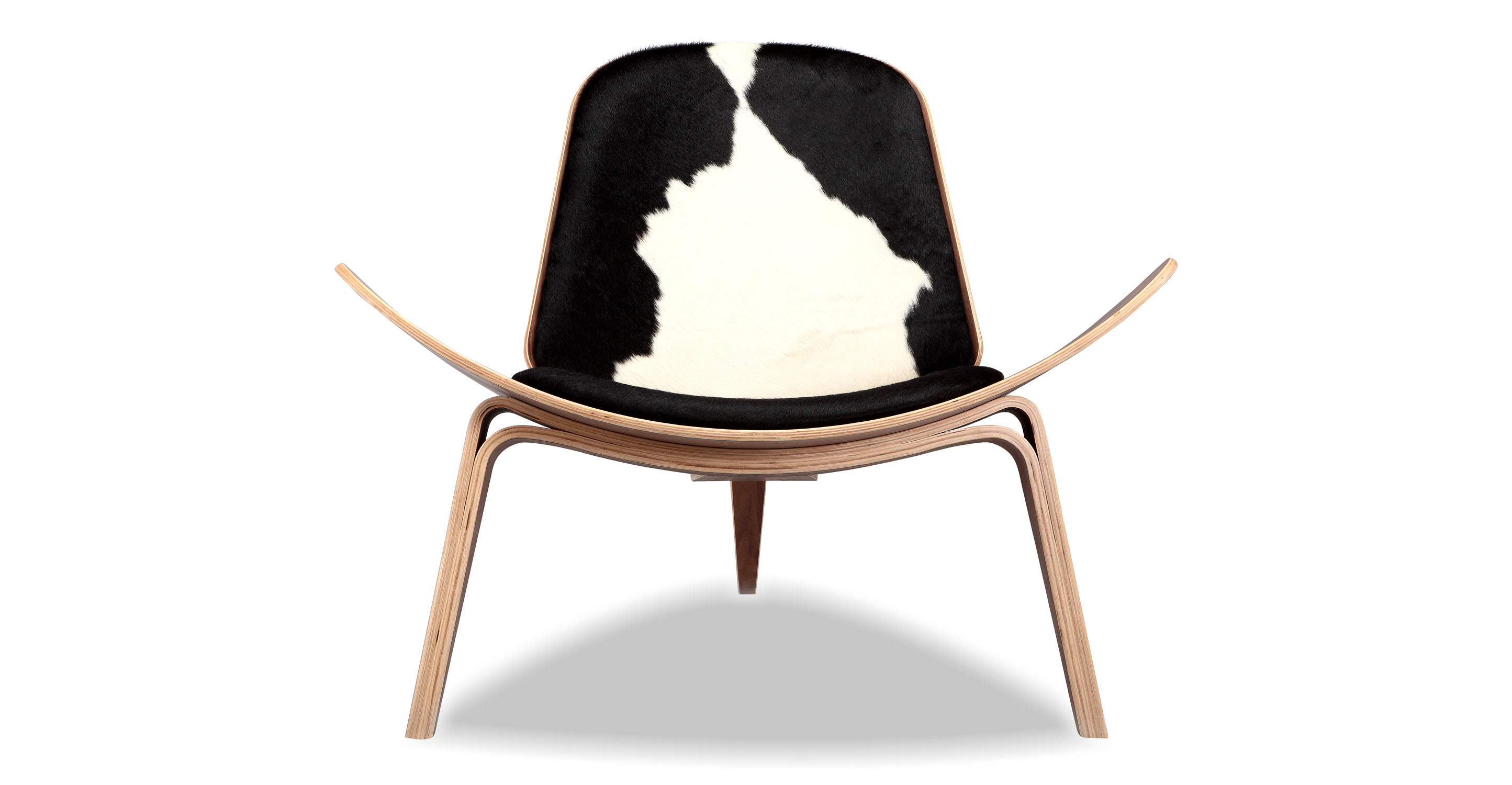 Tripod Leather Chair 2-pc Set, Walnut/Black & White Cowhide
