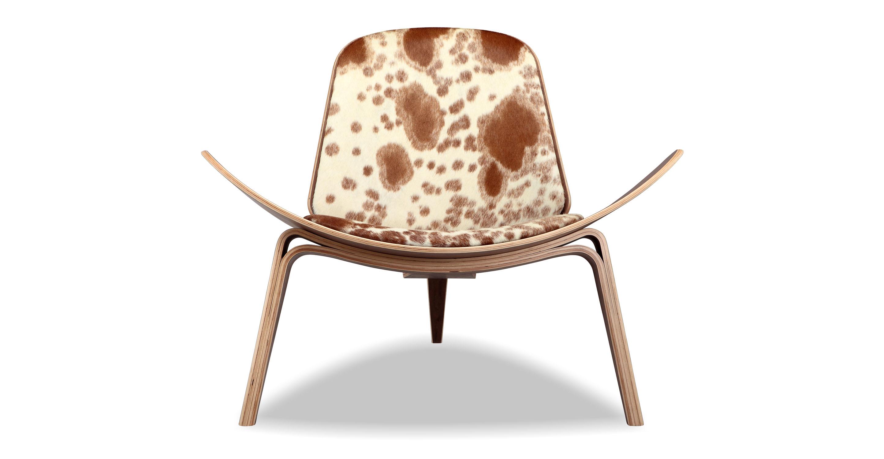 Tripod Leather Chair 2-pc Set, Walnut/Brown & White Cowhide