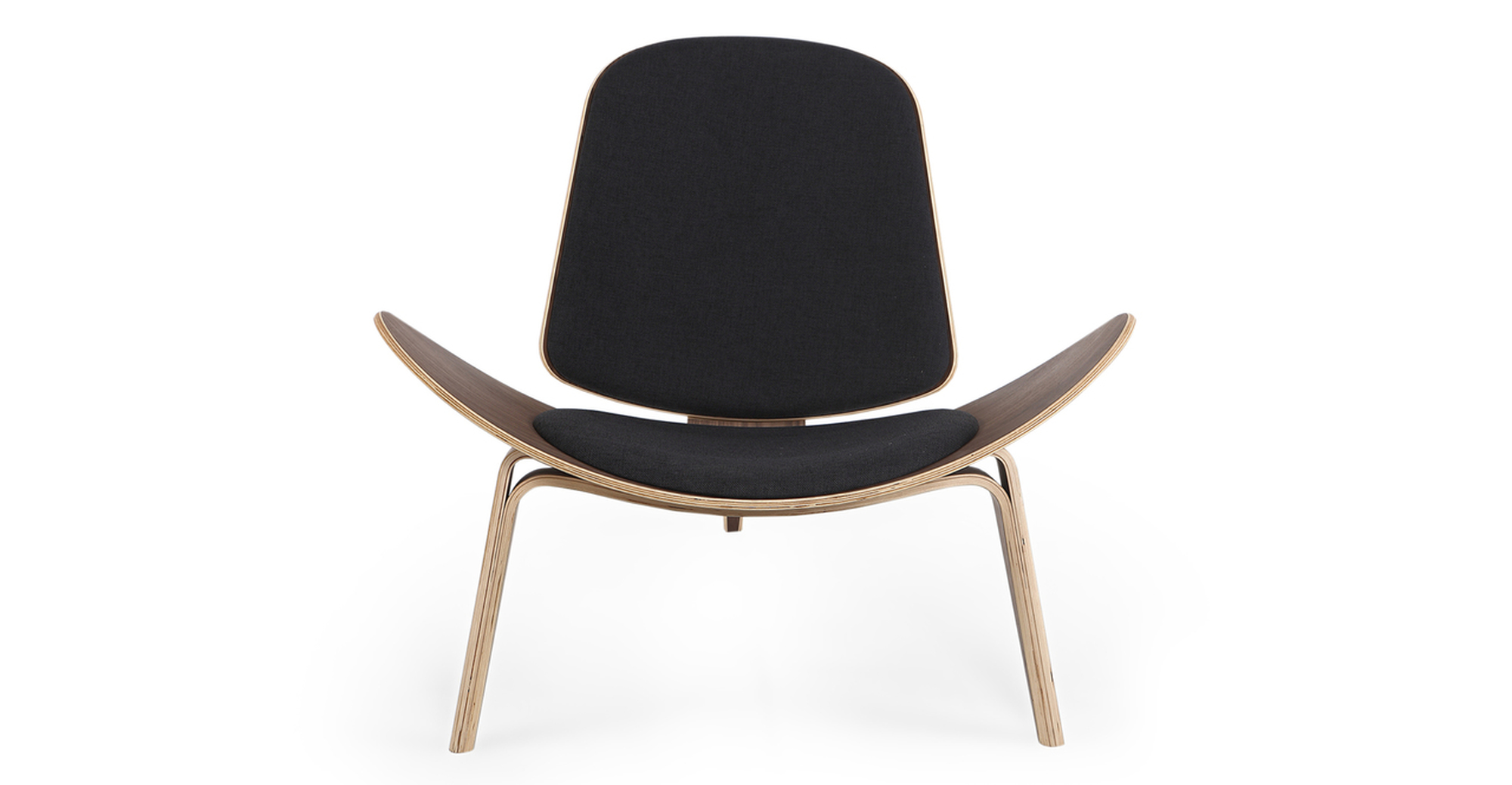 Tripod Fabric Chair 2-pc Set, Walnut/Urban Ink