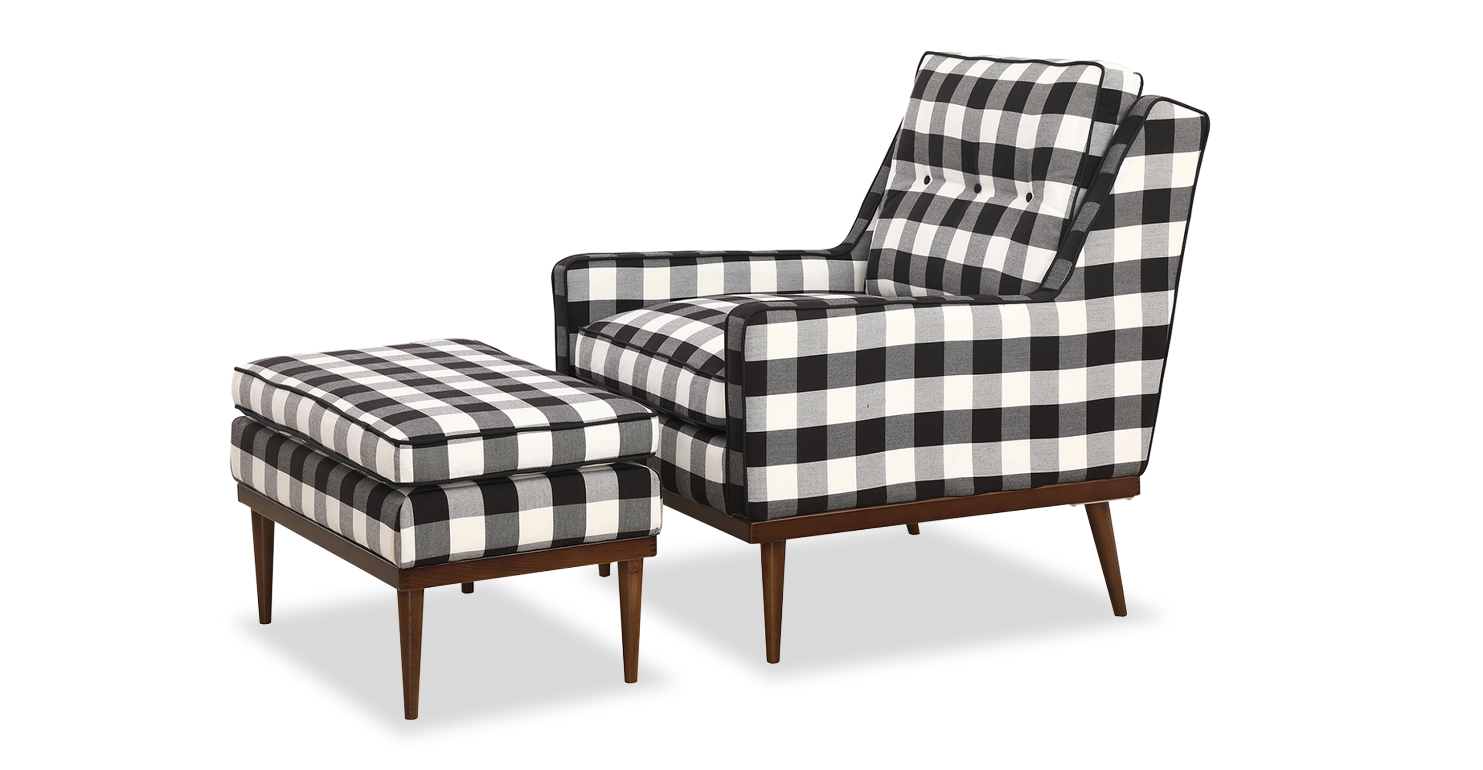 Elektra Fabric Armchair & Ottoman, Window Pane