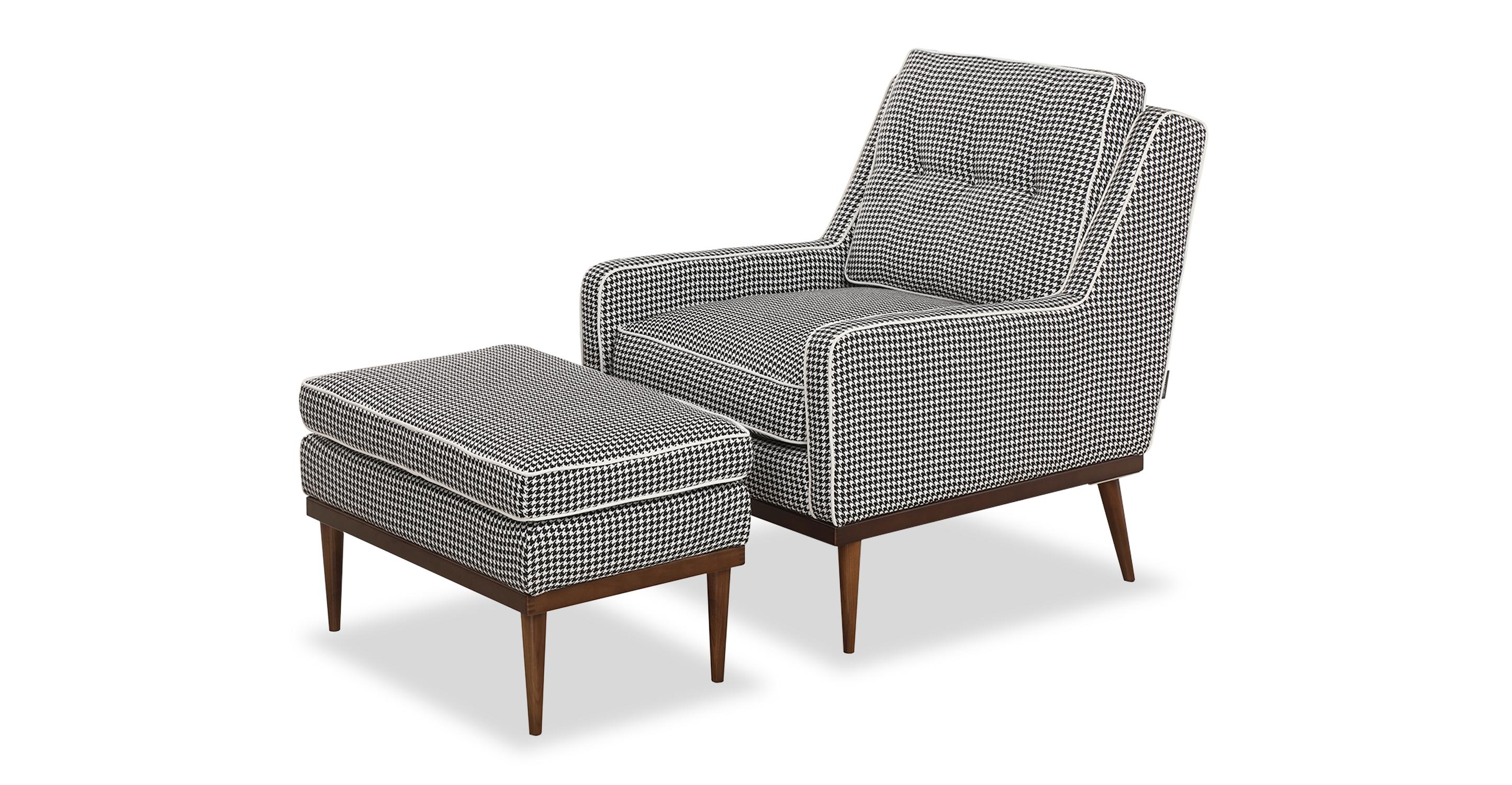 Elektra Fabric Armchair & Ottoman, Houndstooth
