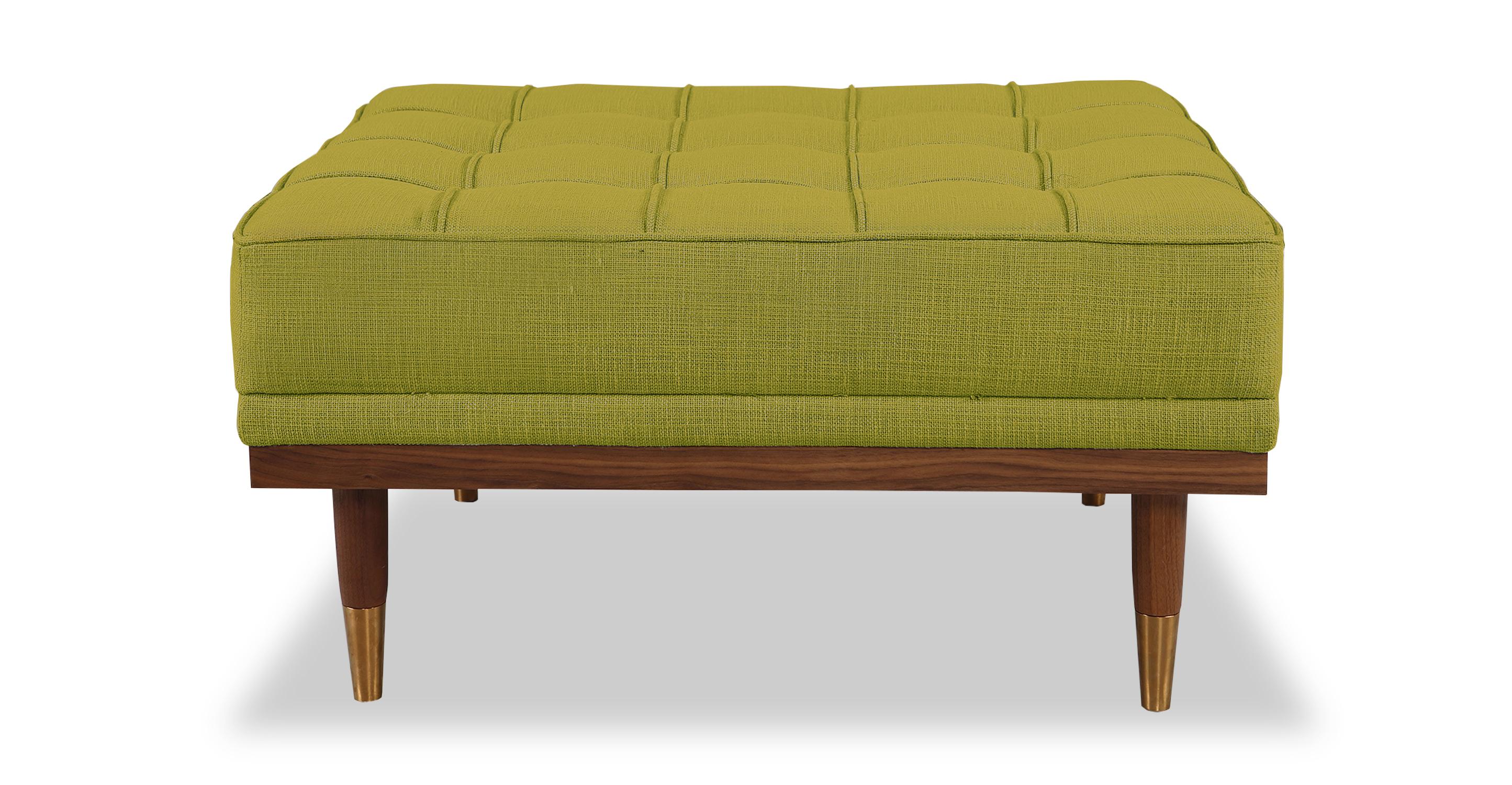 "Woodrow 33"" Box Fabric Ottoman, Walnut/Atomic Moss"