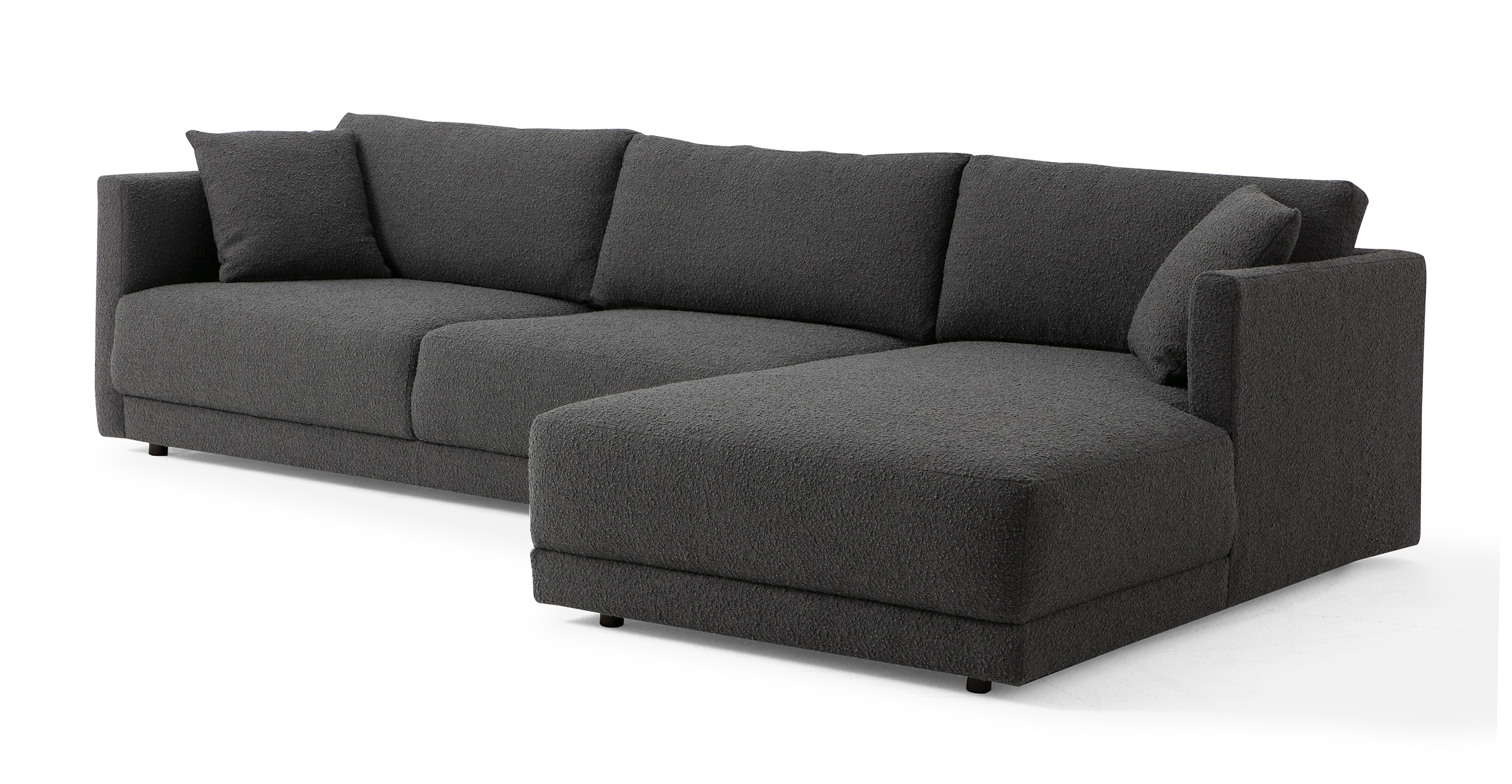 "Domus 115"" Fabric Sofa Sectional Right, Gris Boucle"