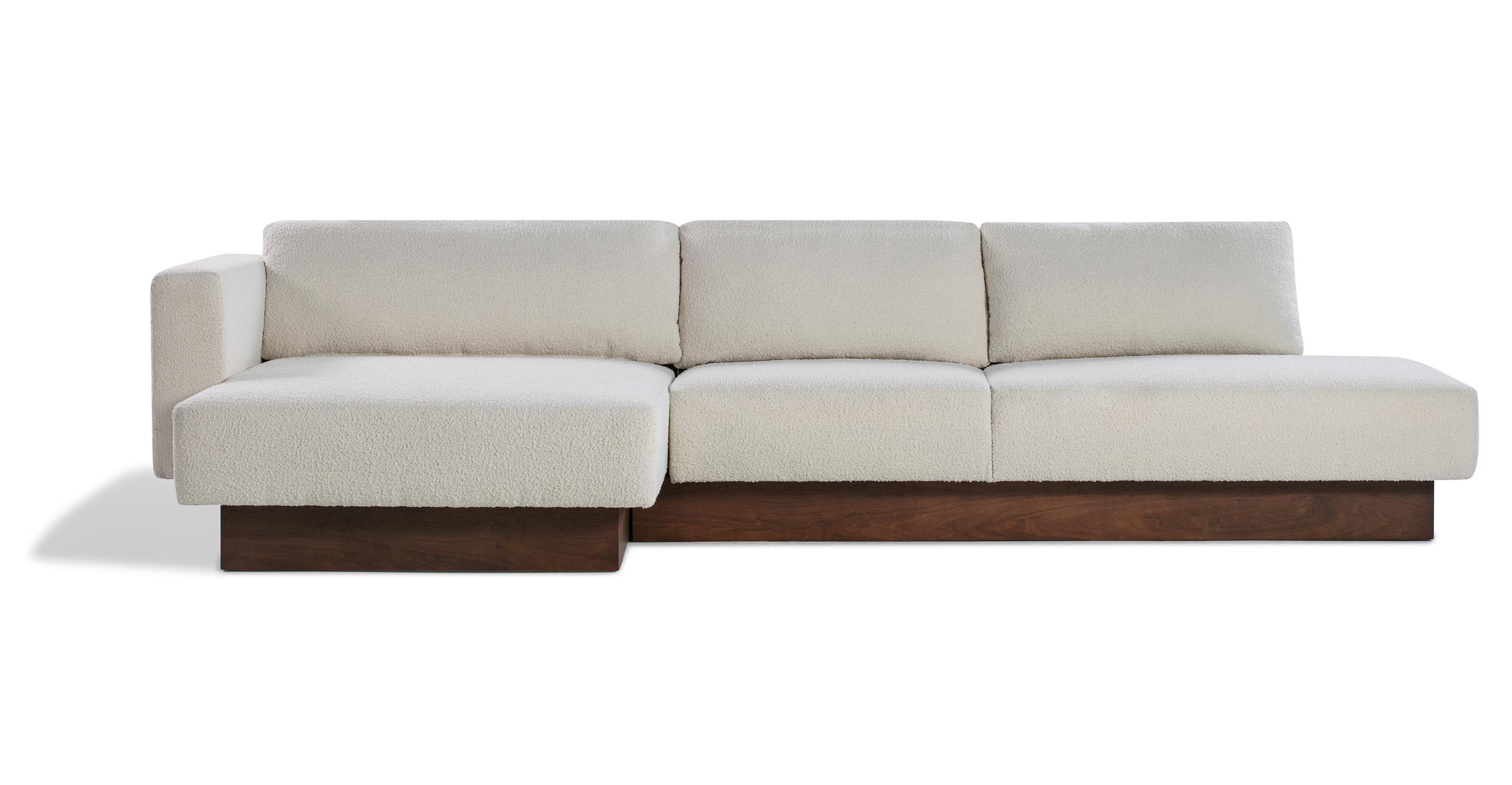 "Brady 128"" Fabric Sofa Sectional Left, Blanc Boucle"