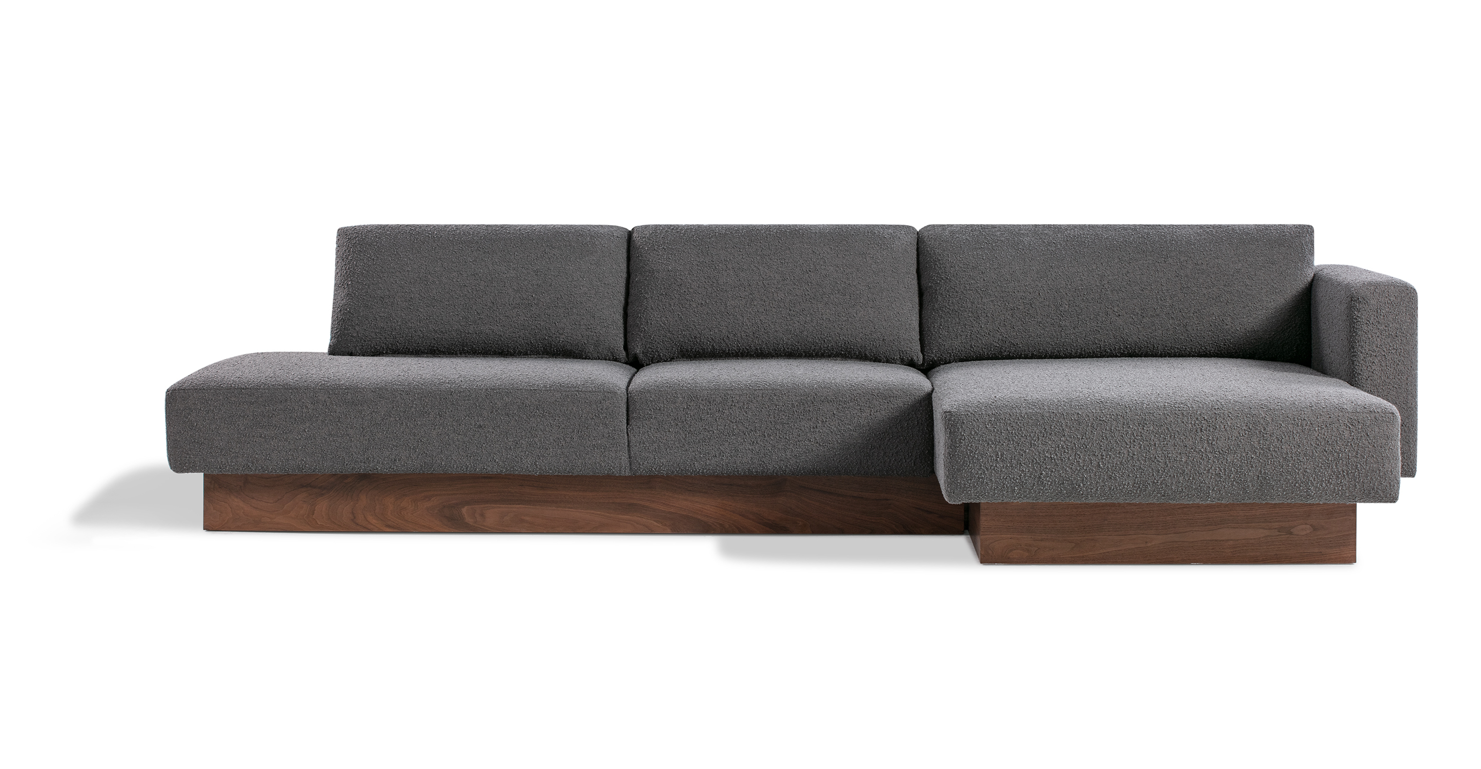 """Brady 128"""" Fabric Sofa Sectional Right, Gris Boucle"""