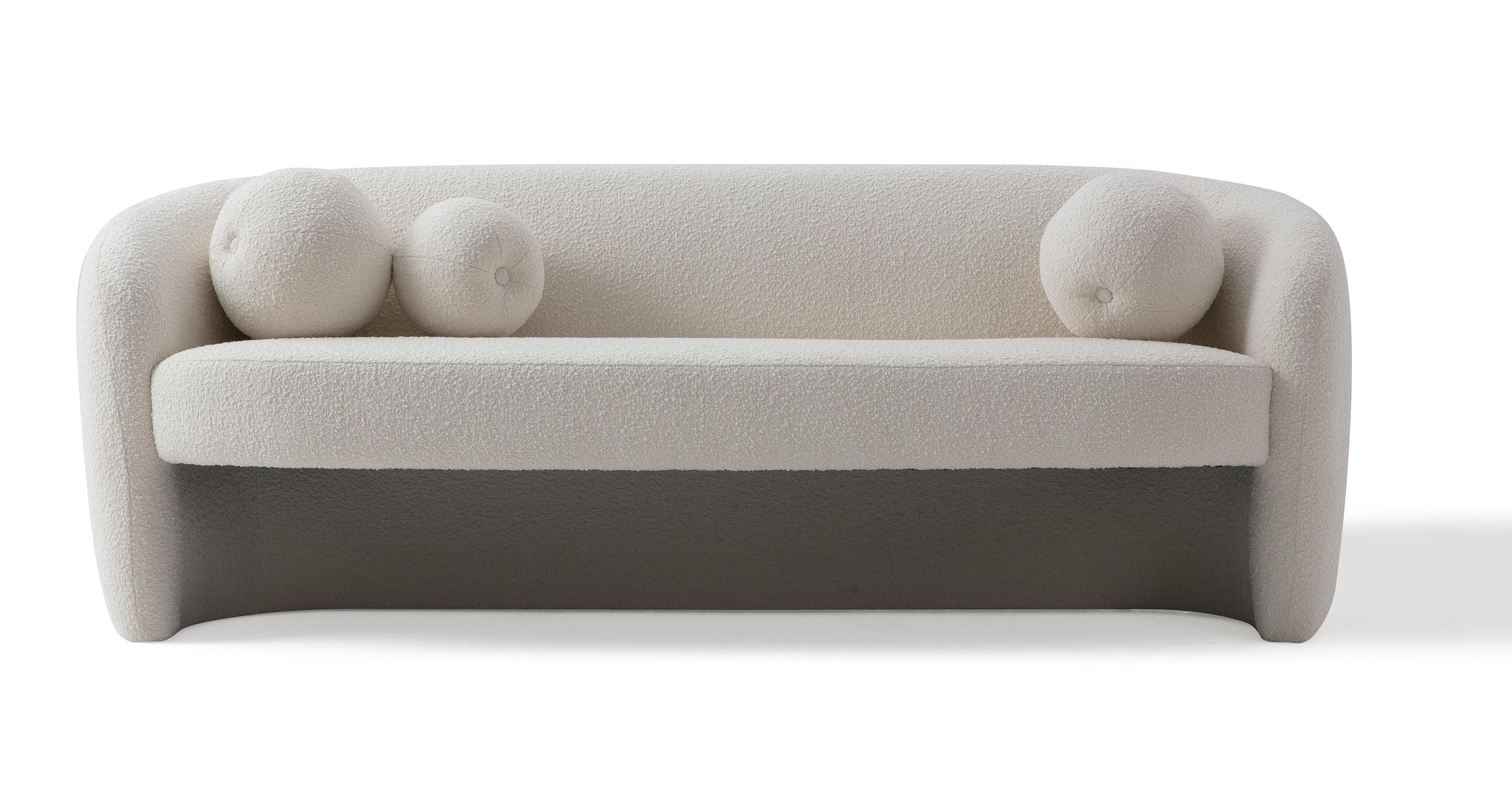 "Miranda 82"" Fabric Sofa, Blanc Boucle"