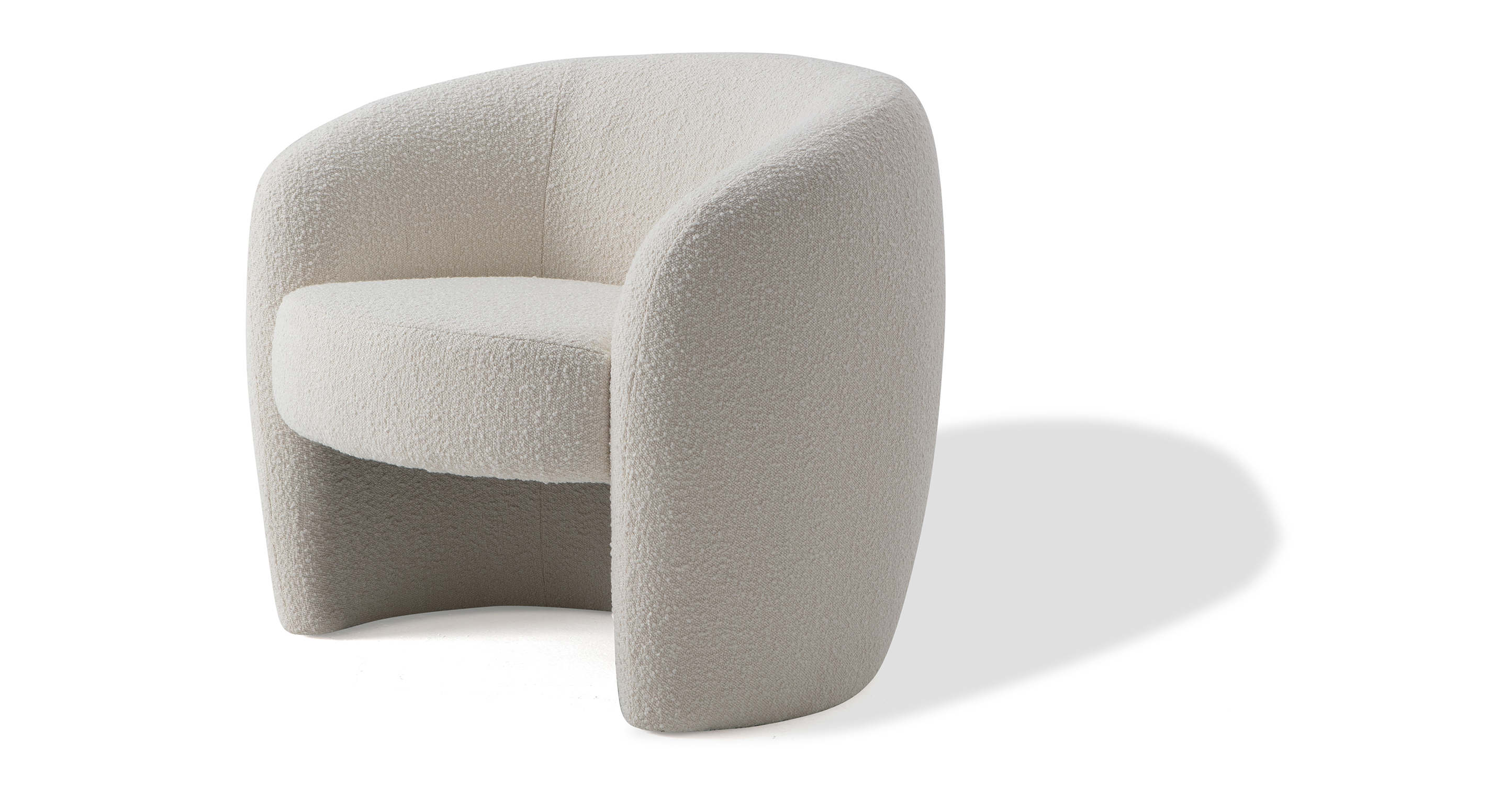 "Miranda 35"" Fabric Chair, Blanc Boucle"