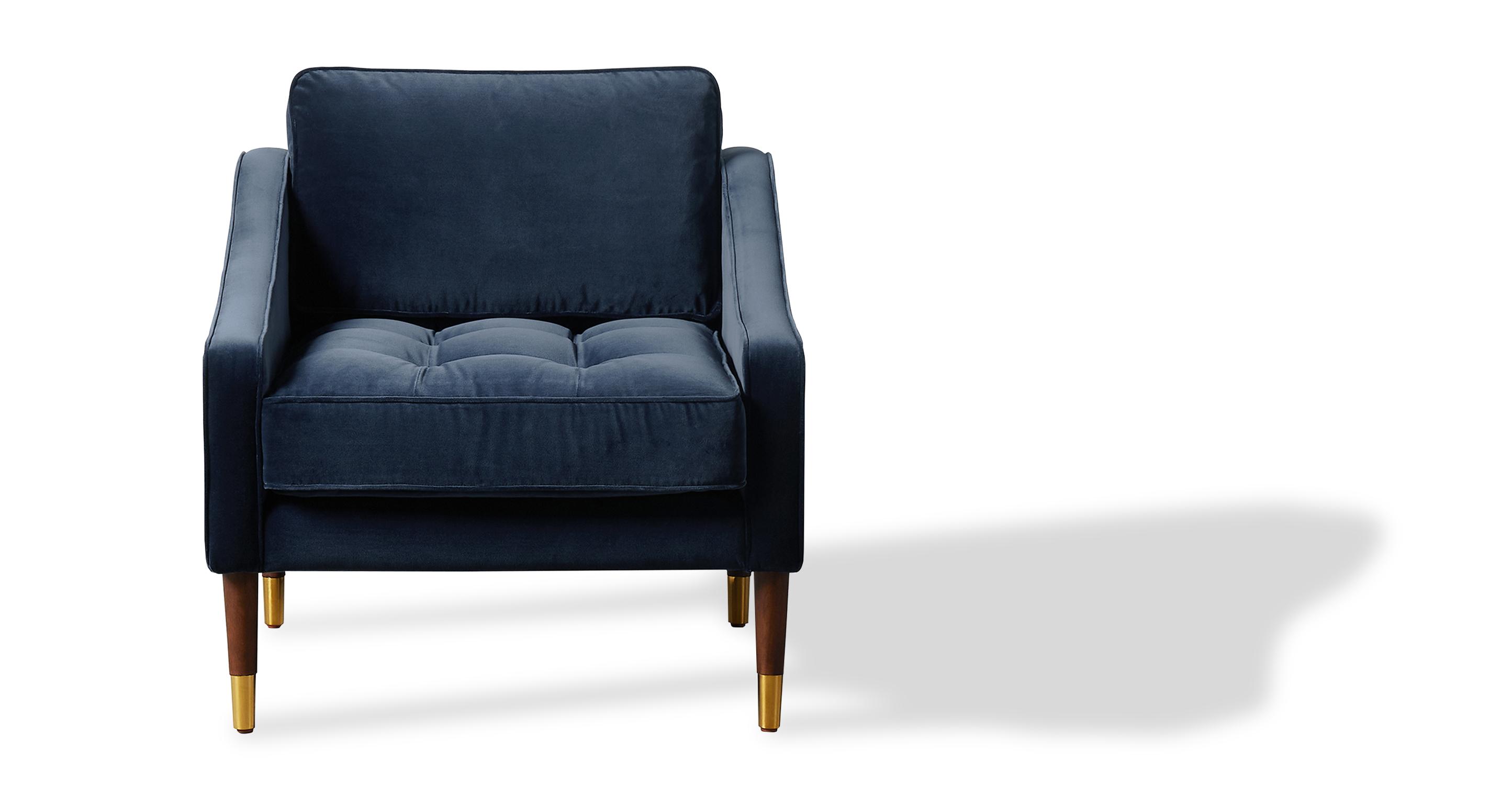 """Brando 29"""" Fabric Chair, Admiral Velvet"""