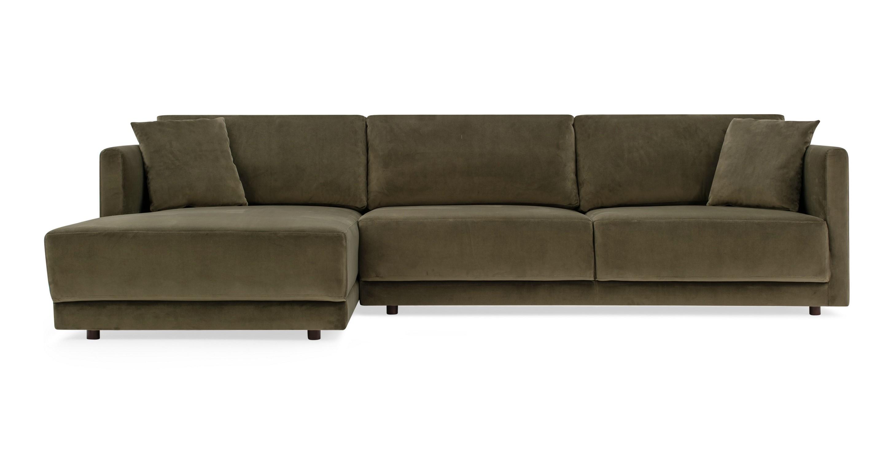 """Domus 115"""" Fabric Sofa Sectional Left, Sage Velvet"""