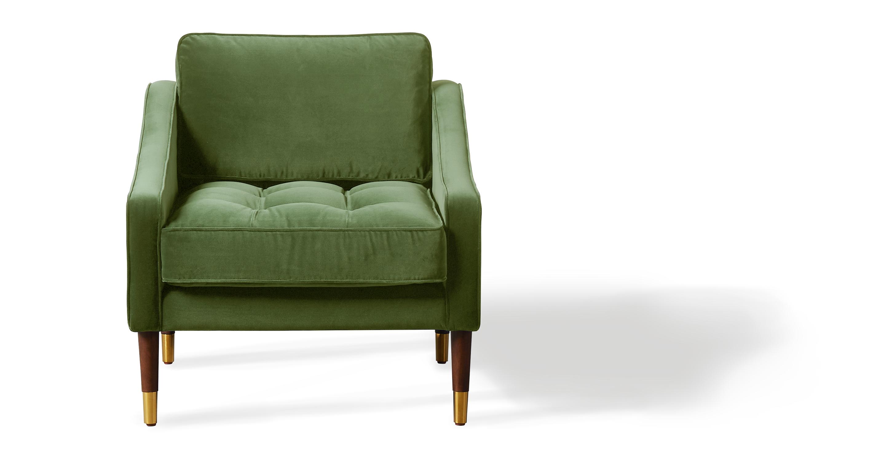 """Brando 29"""" Fabric Chair, Grass Velvet"""