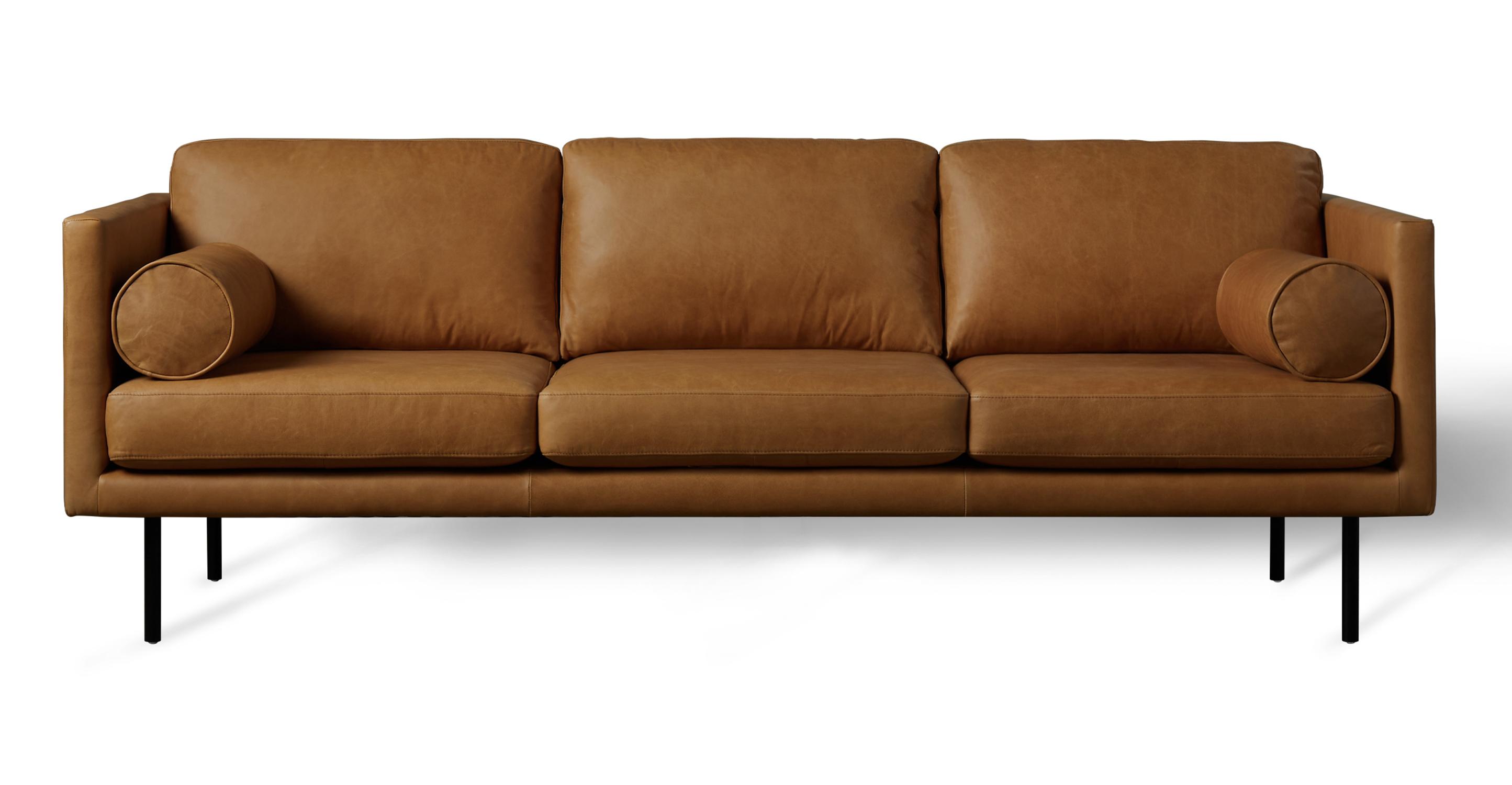 "Spectre Luxe 81"" Leather Sofa, Milano Russett"