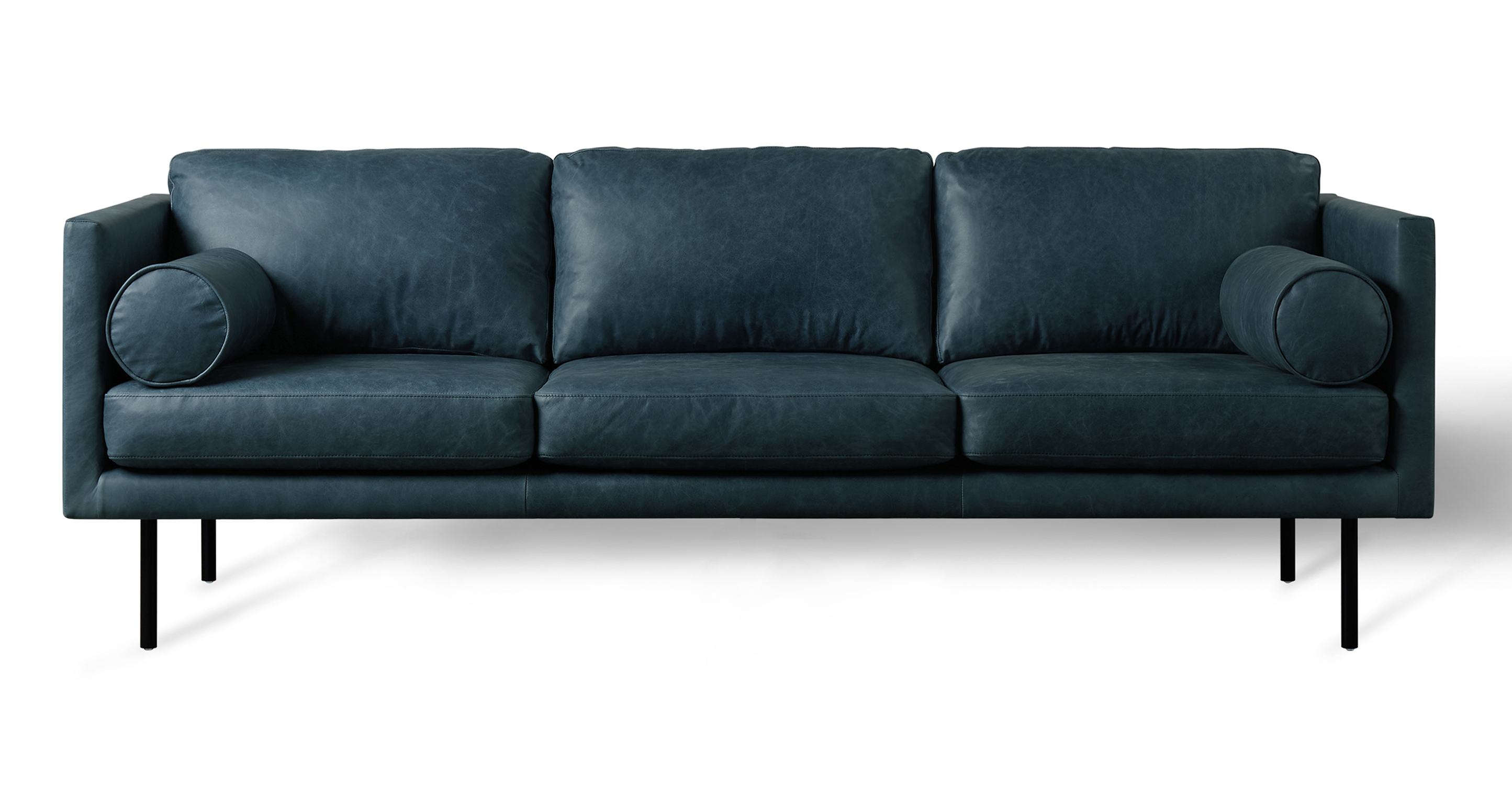 """Spectre Luxe 81"""" Leather Sofa, Midnight Blue"""