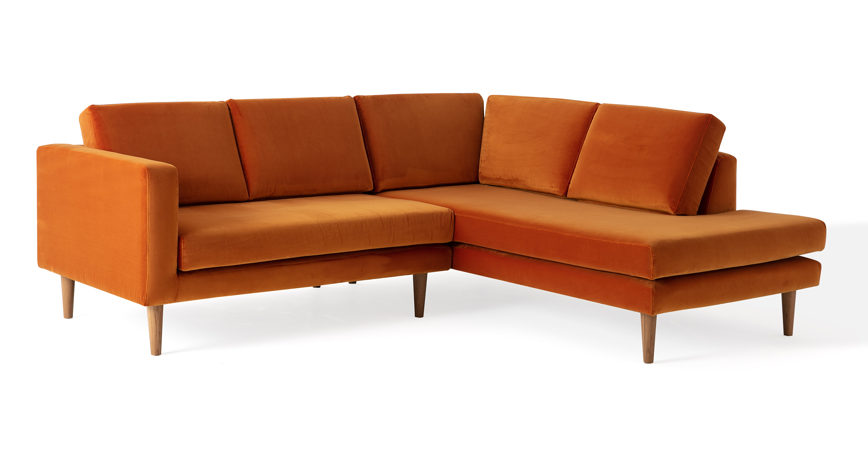 "Dominique 89"" Fabric Sofa Sectional Right, Monarch Velvet"