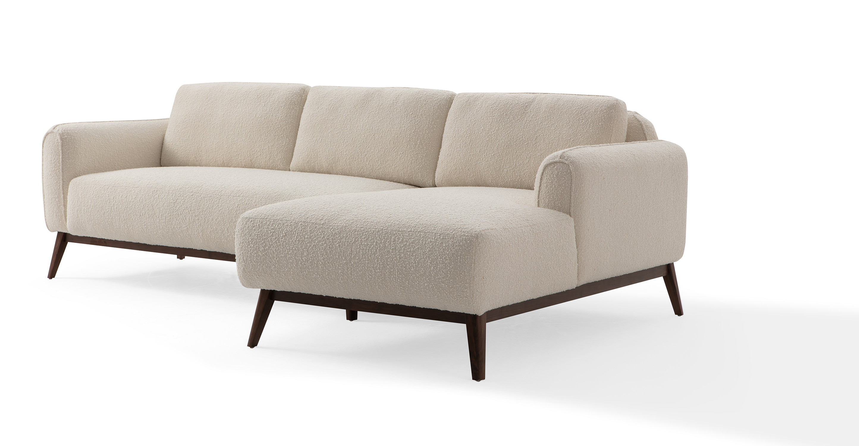 "Metro 100"" Fabric Sofa Sectional Right, Blanc Boucle"
