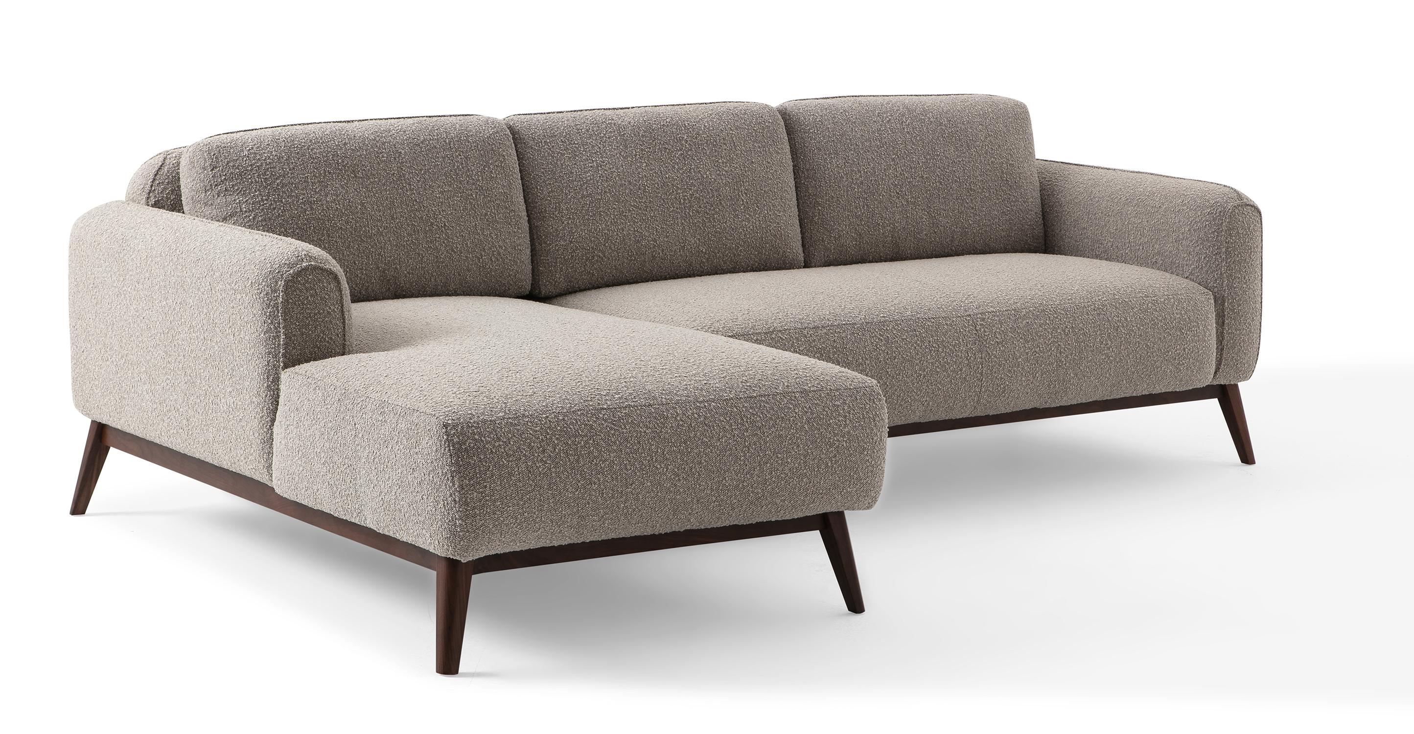 "Metro 100"" Fabric Sofa Sectional Left, Bocce Boucle"