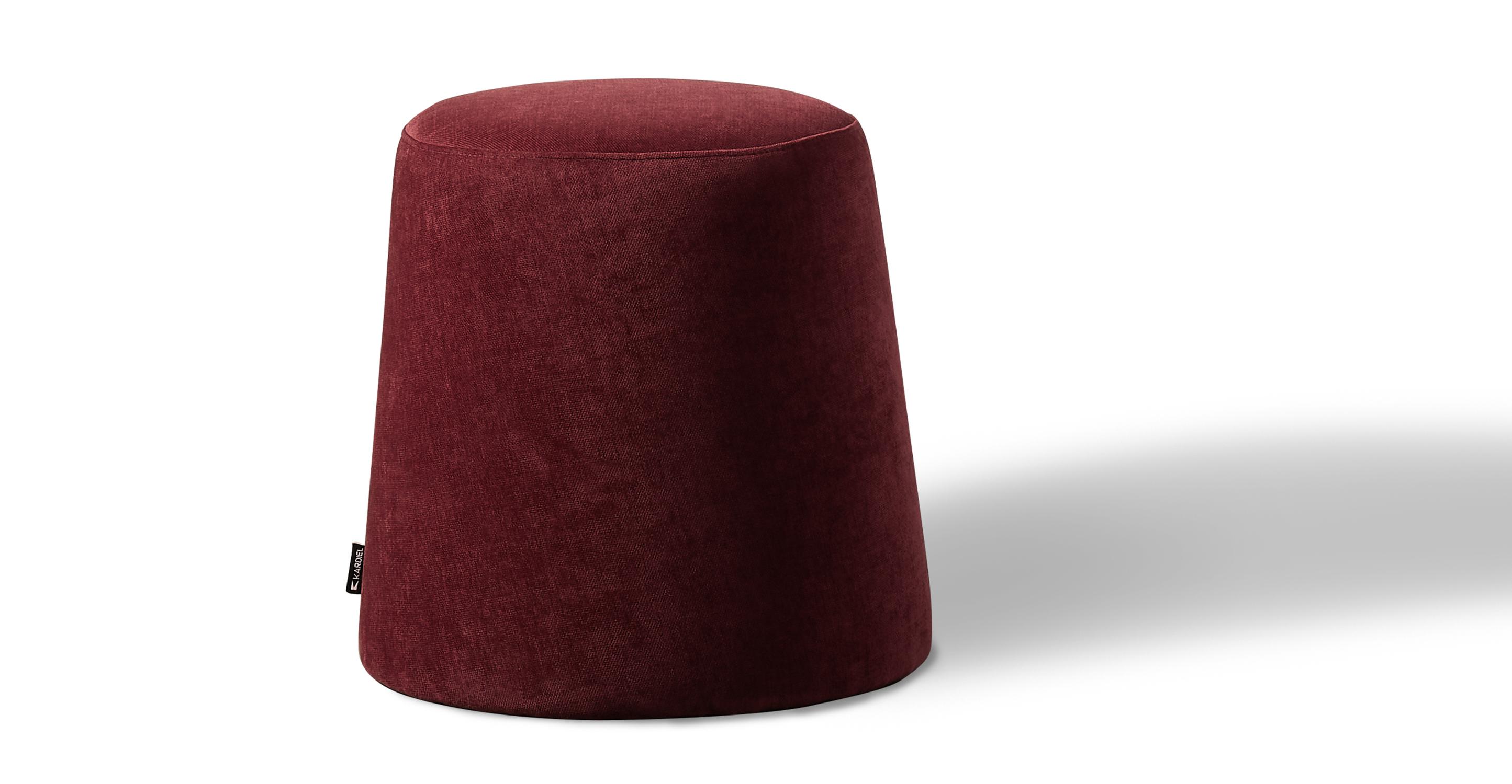 """Thimble 20"""" Fabric Ottoman, Ruby Velvet"""