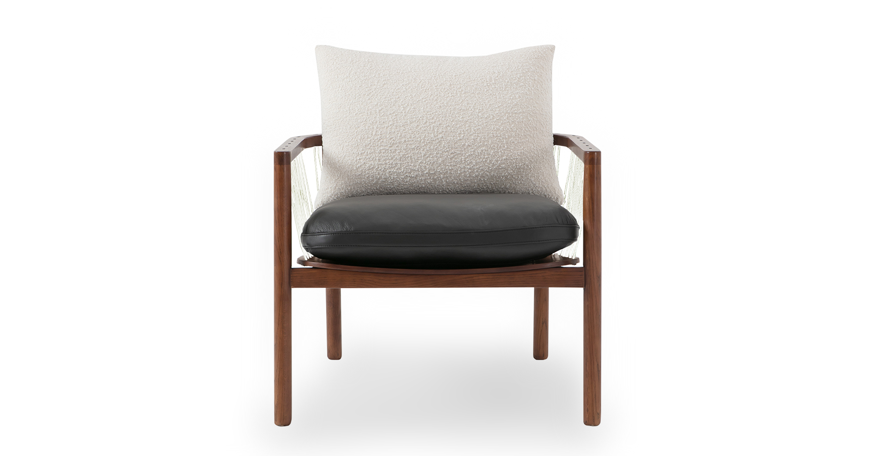 "Crosshatch 28"" Chair, Blanc & Black"