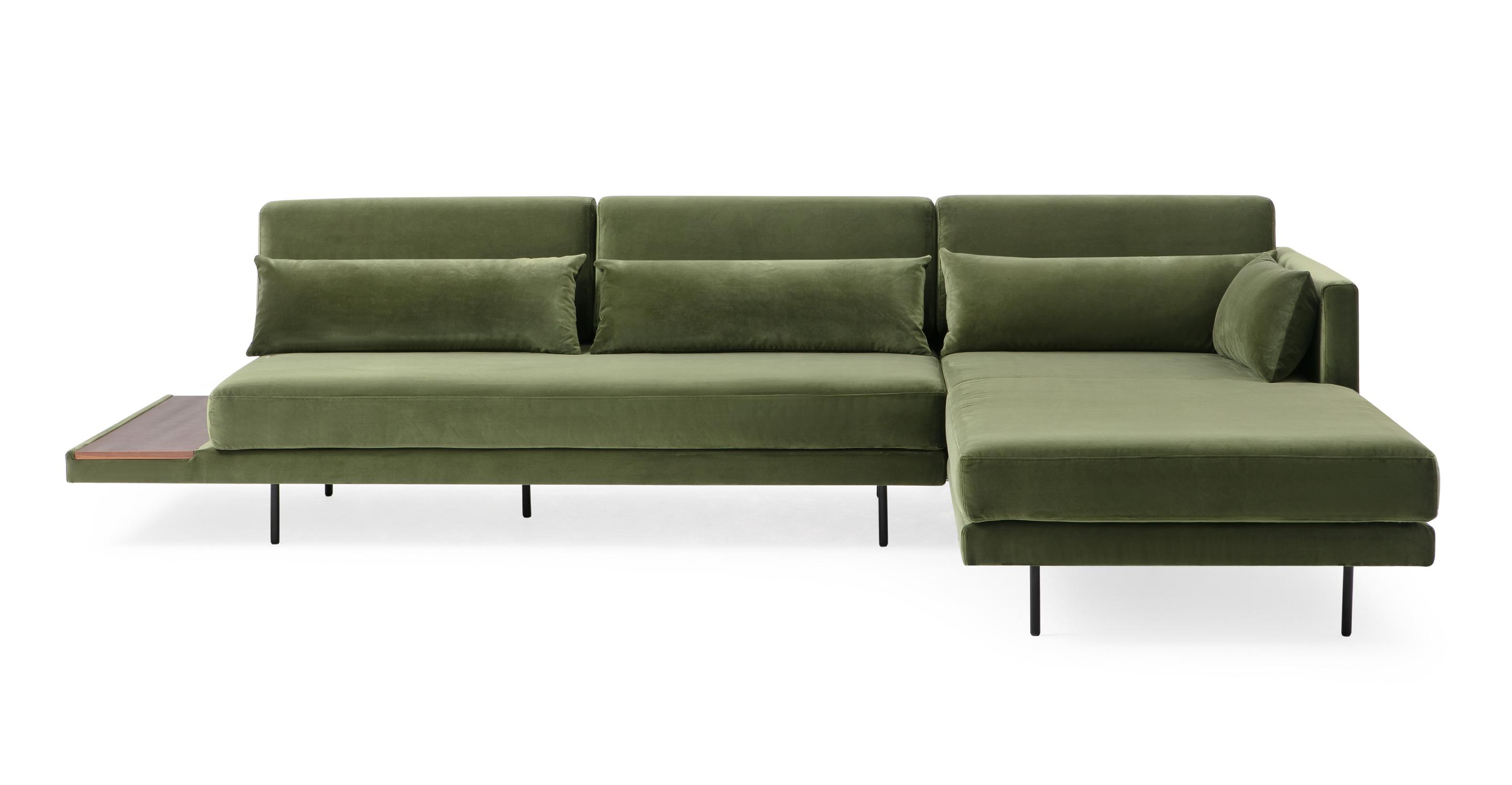 """Davenport 116"""" Fabric Sofa Sectional Right, Fern Velvet"""