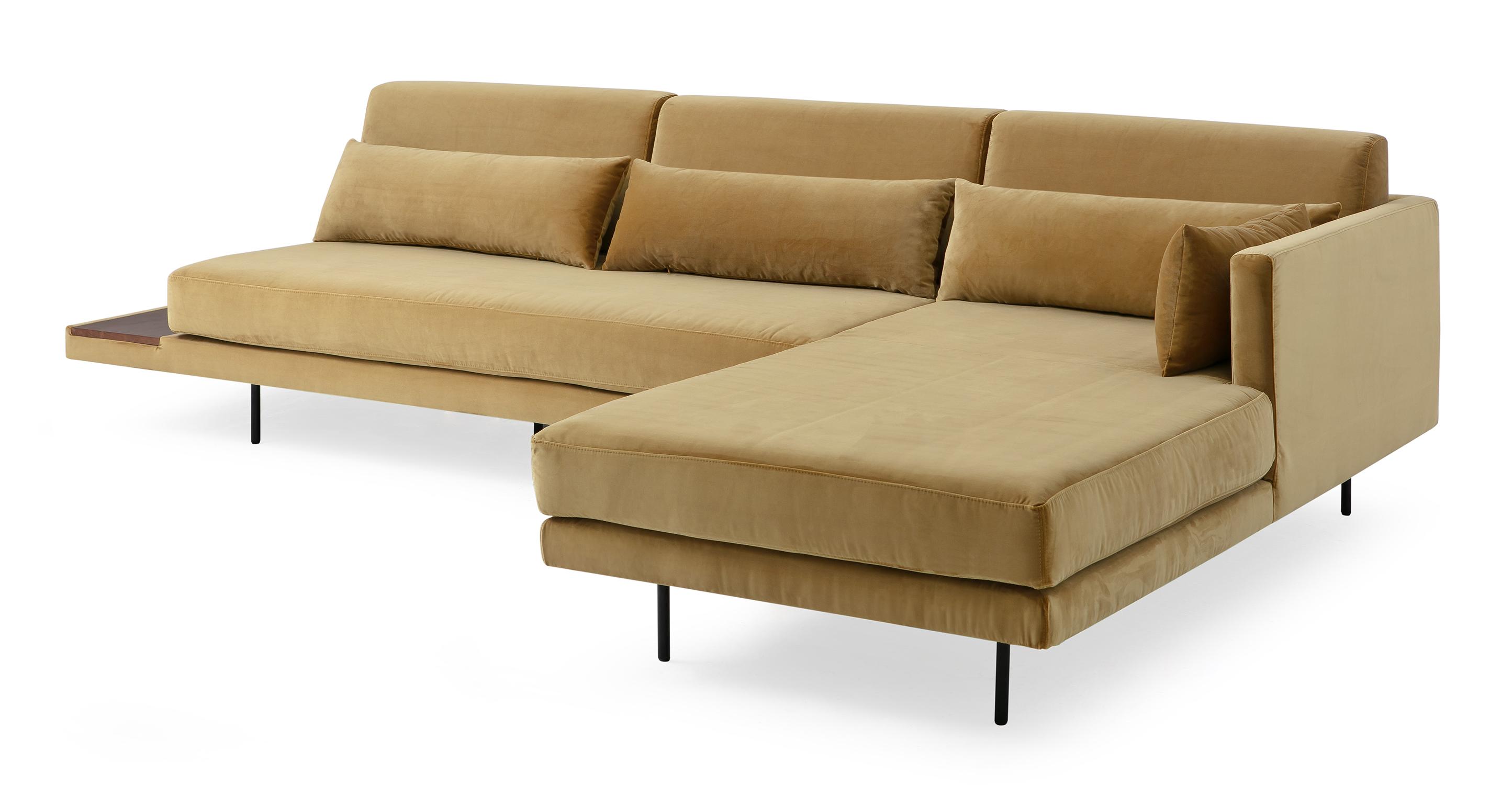 """Davenport 116"""" Fabric Sofa Sectional Right, Merigold Velvet"""