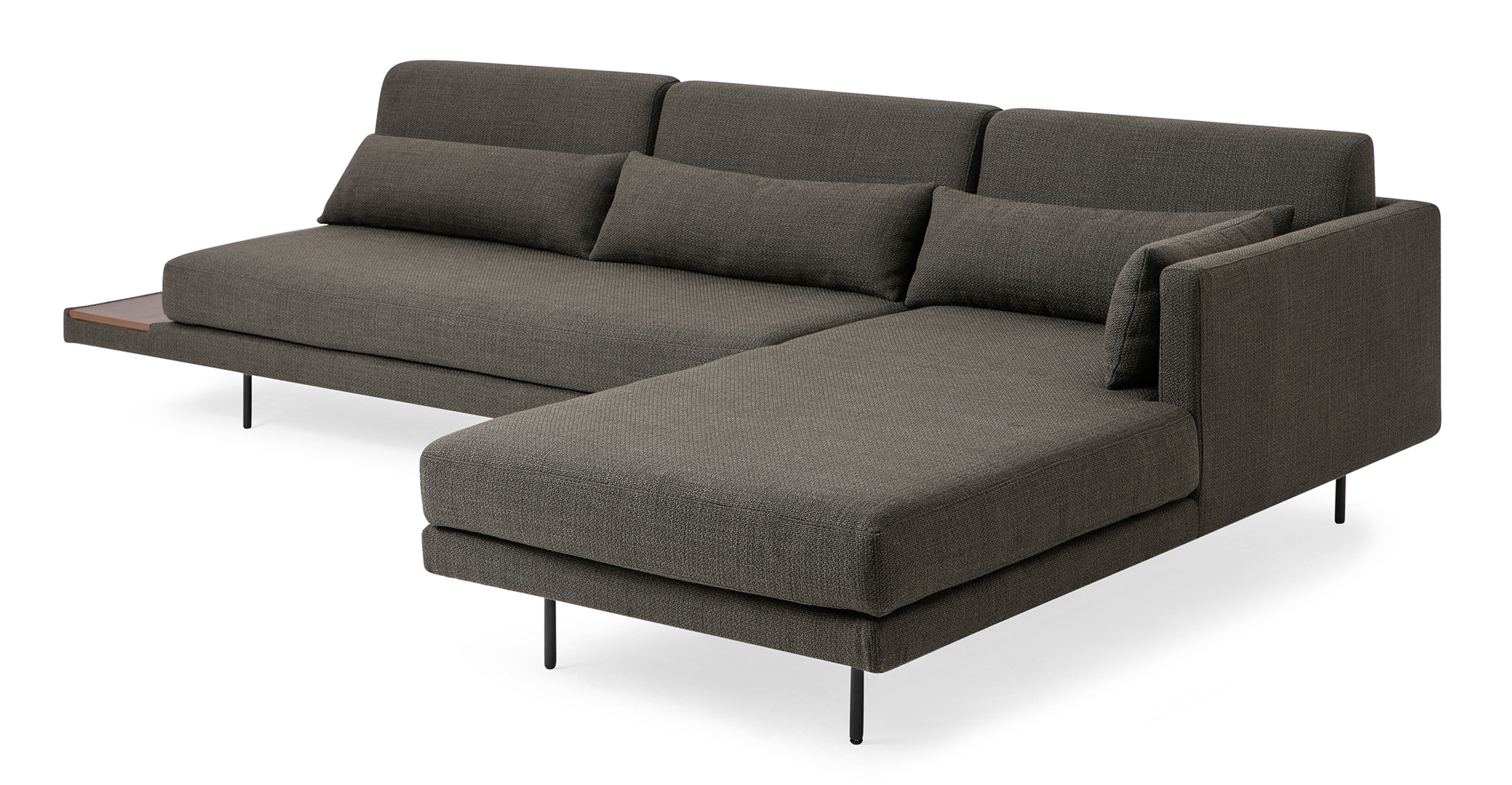 "Davenport 116"" Fabric Sofa Sectional Right, Nuit Boucle"