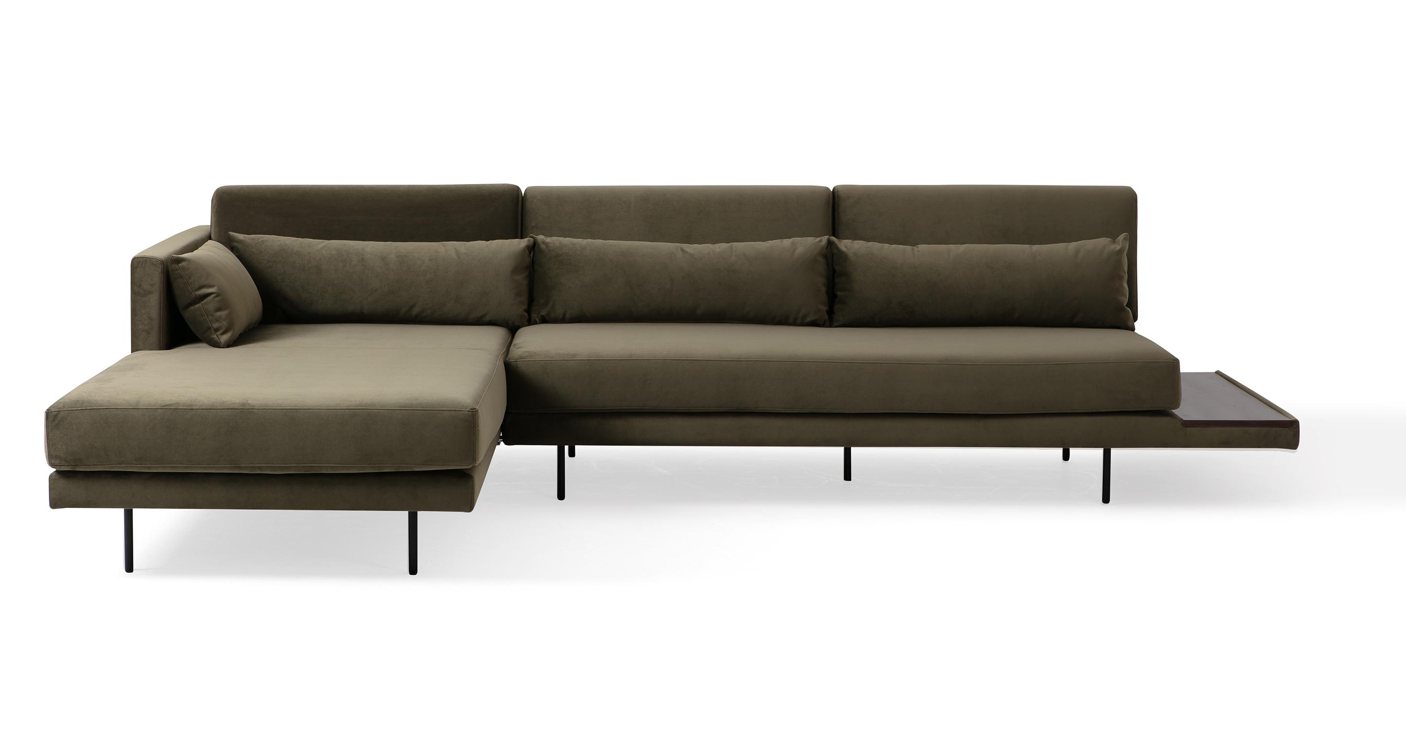 """Davenport 116"""" Fabric Sofa Sectional Left, Sage Velvet"""