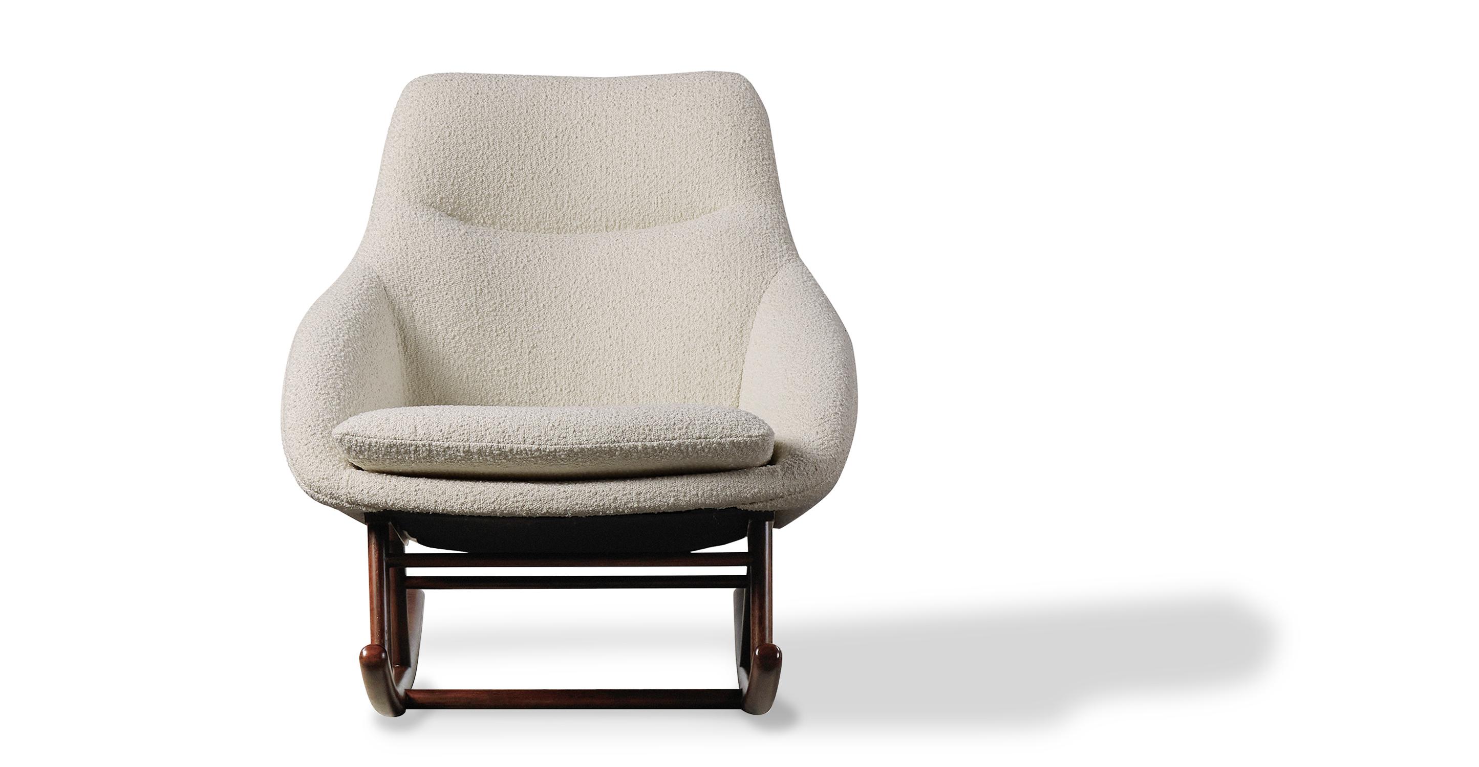 "Rocket 31"" Fabric Rocking Chair, Cream Boucle"