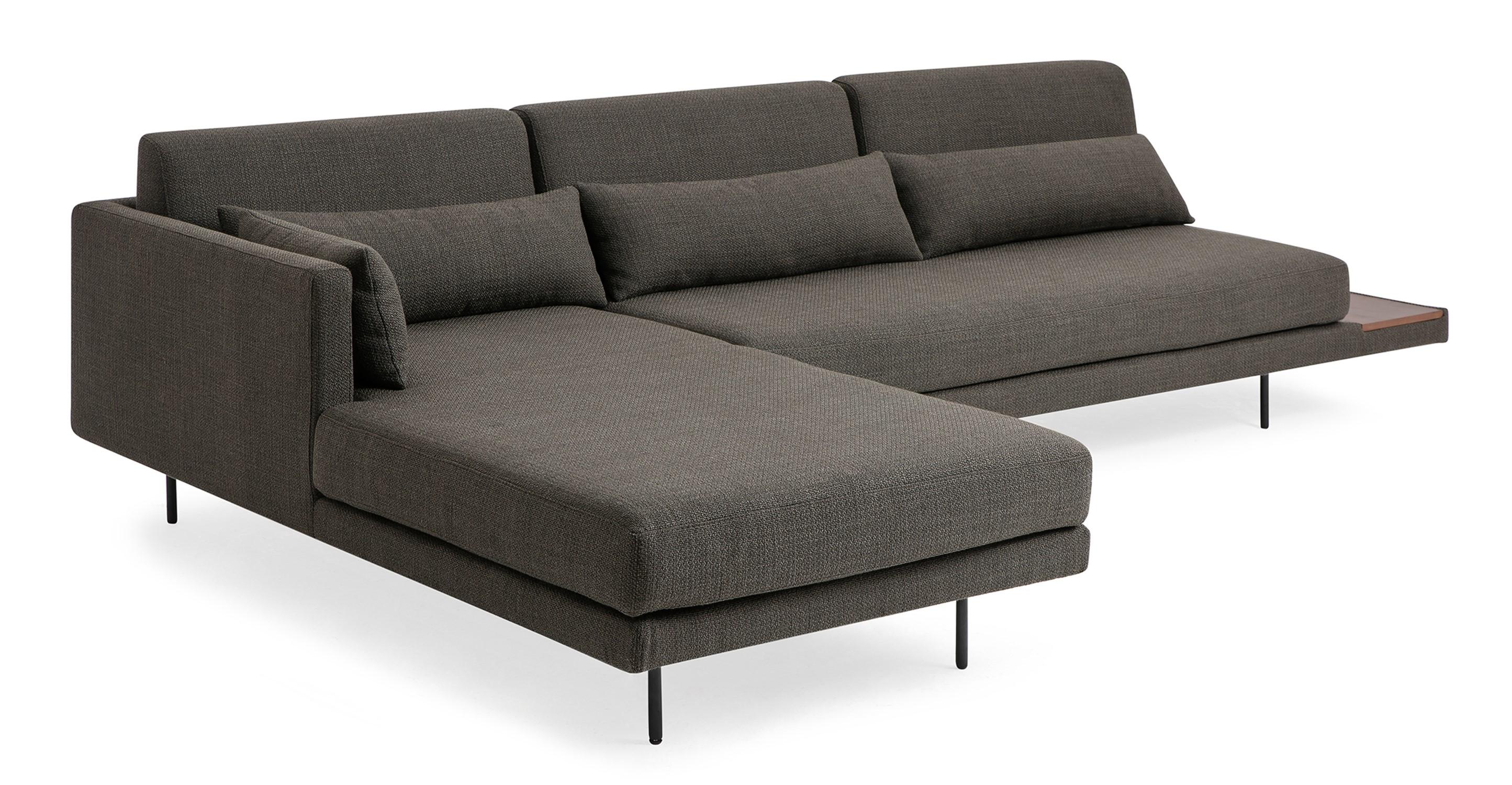 "Davenport 116"" Fabric Sofa Sectional Left, Nuit Boucle"