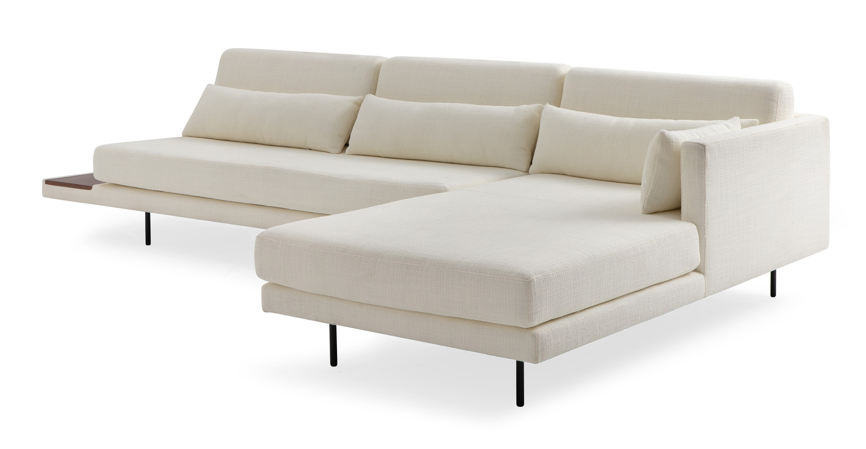 """Davenport 116"""" Fabric Sofa Sectional Right, Jour Boucle"""