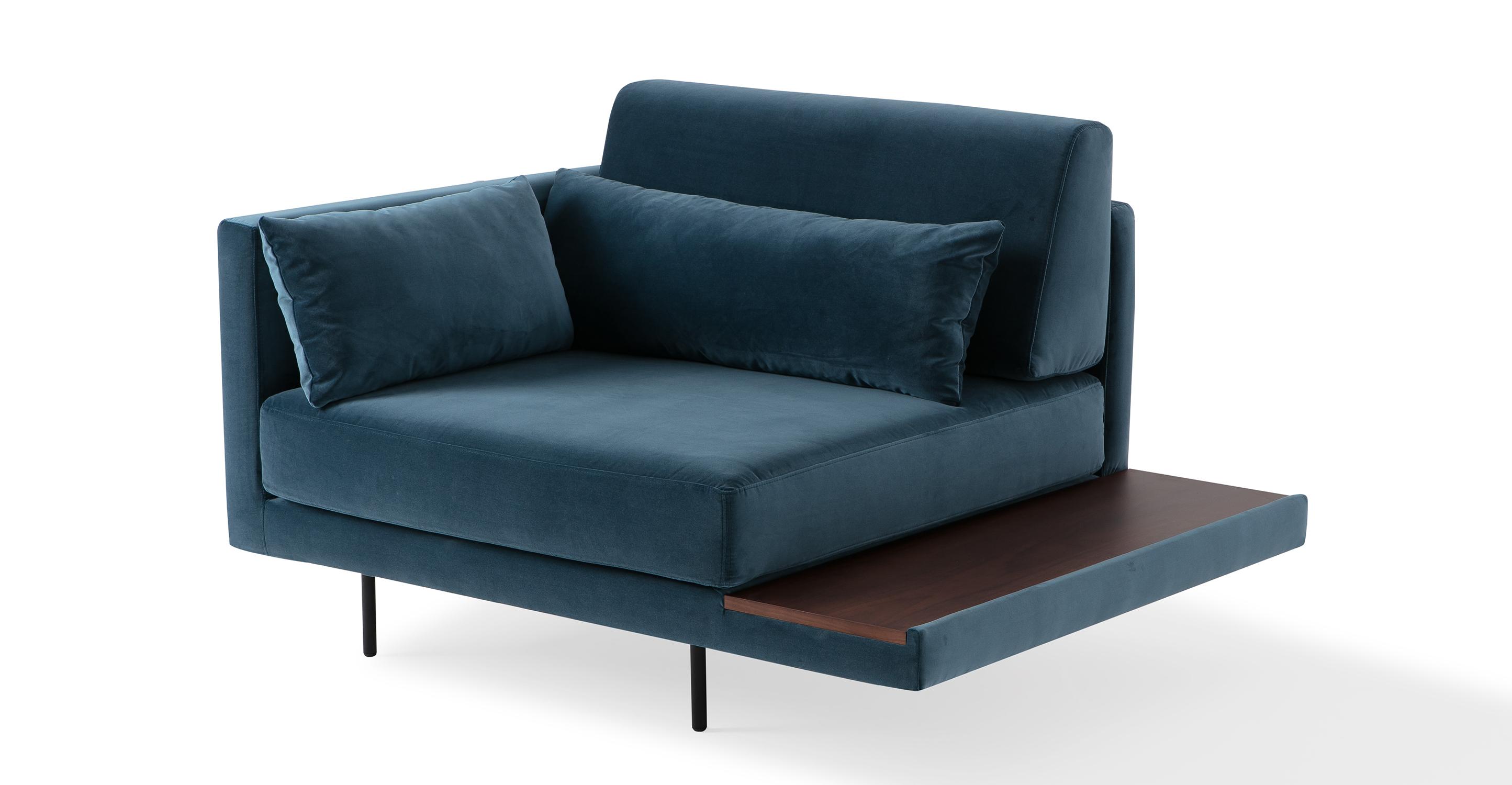 """Davenport 50"""" Fabric Chair, Petrol Velvet"""