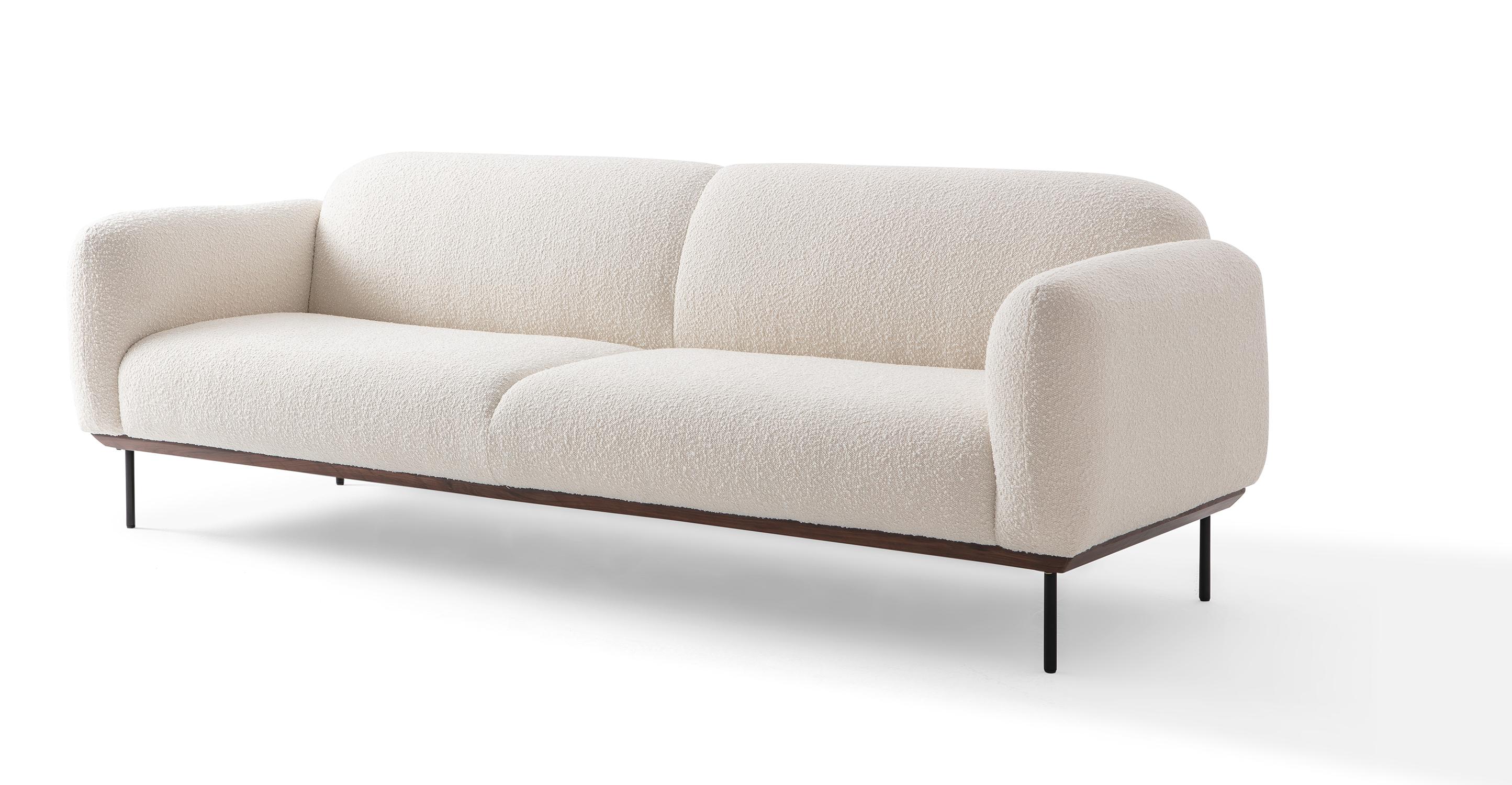 "Cloud 90"" Fabric Sofa, Blanc Boucle"