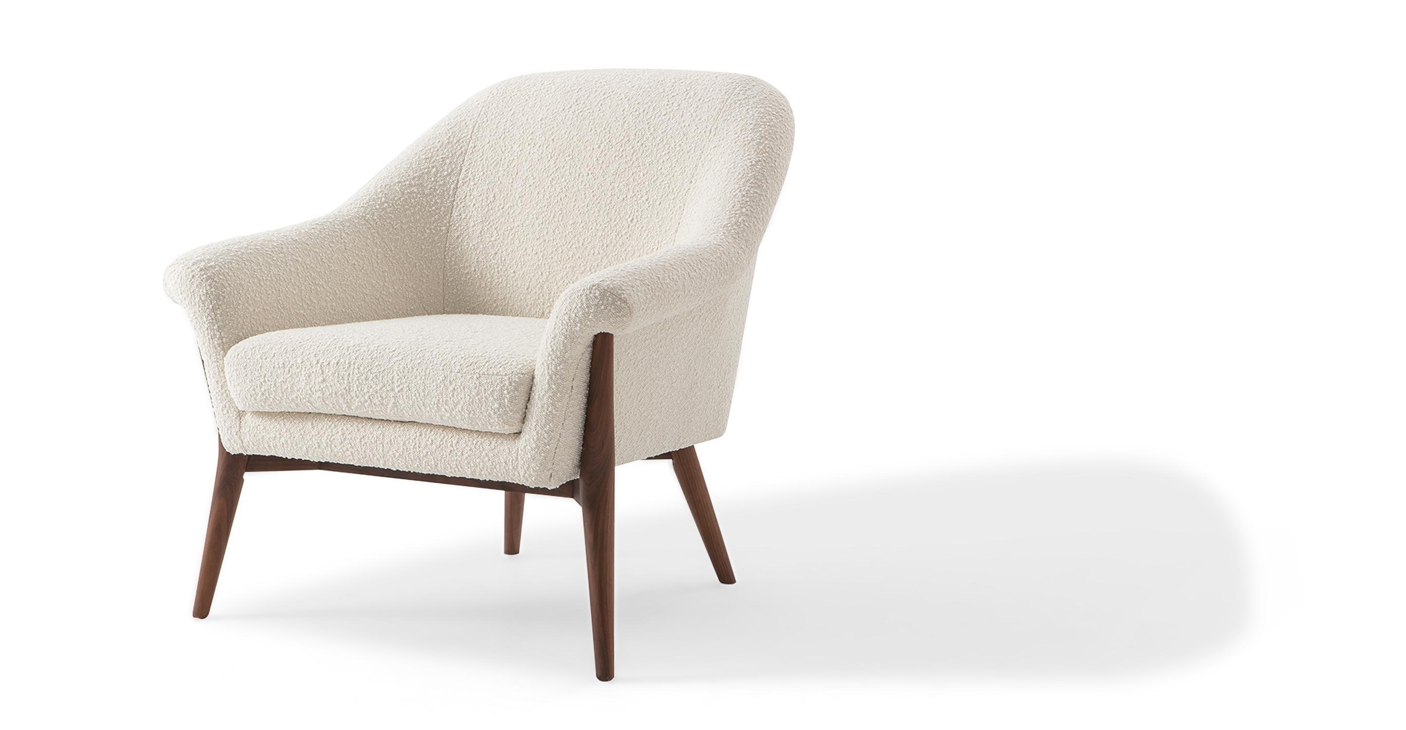 "Nexus 34"" Fabric Chair, Blanc Boucle"