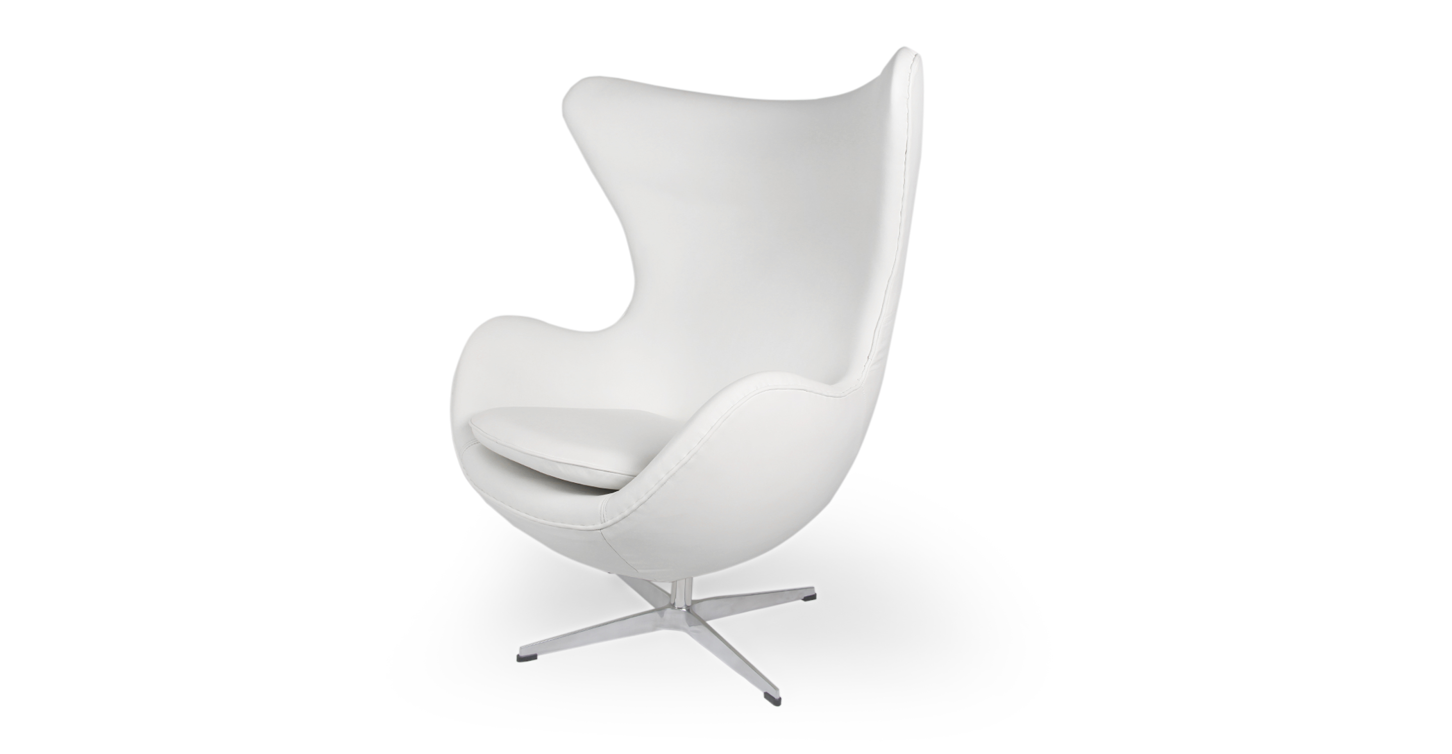 "Amoeba 35"" Swivel Leather Chair, Ecume White"