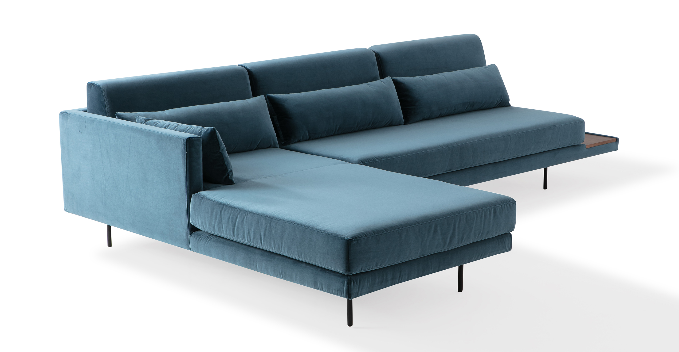 "Davenport 116"" Fabric Sofa Sectional Left, Petrol Velvet"