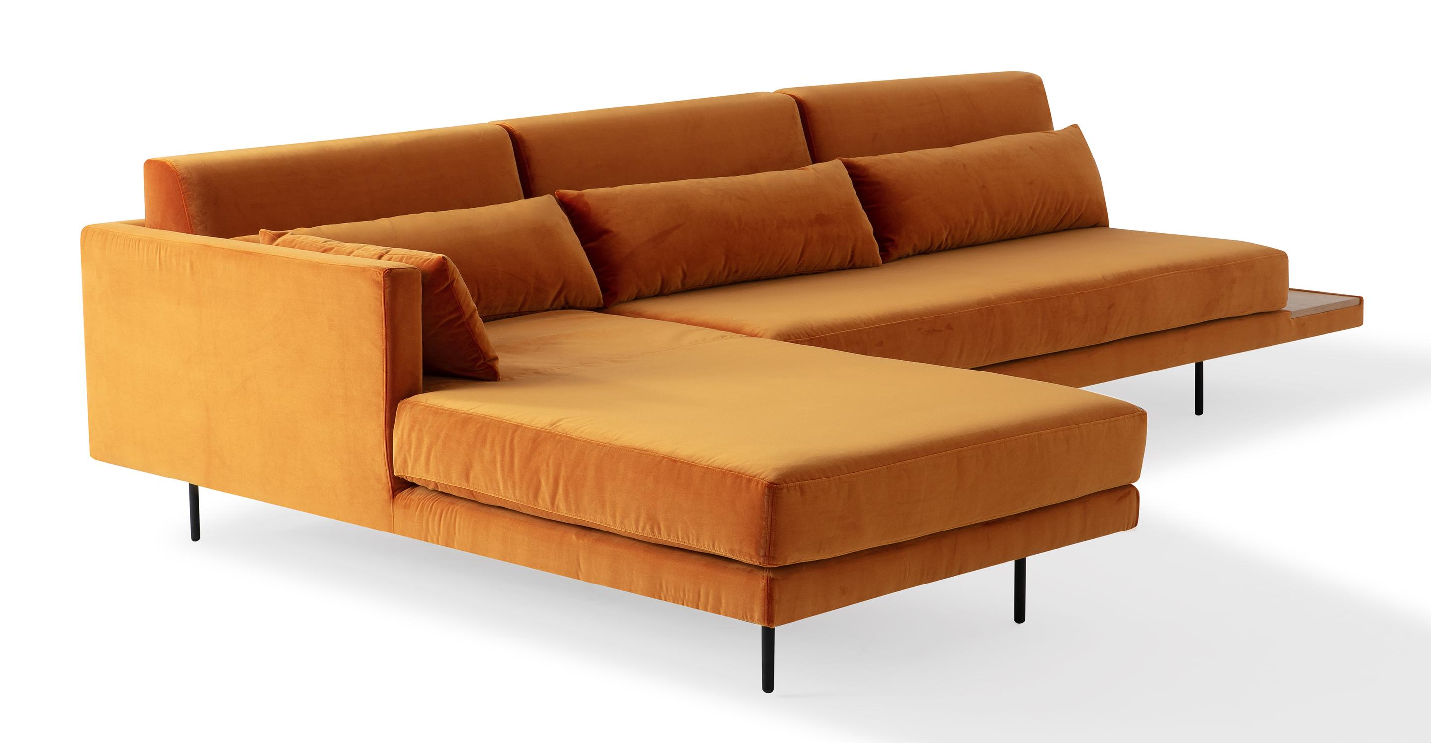 """Davenport 116"""" Fabric Sofa Sectional Left, Monarch Velvet"""
