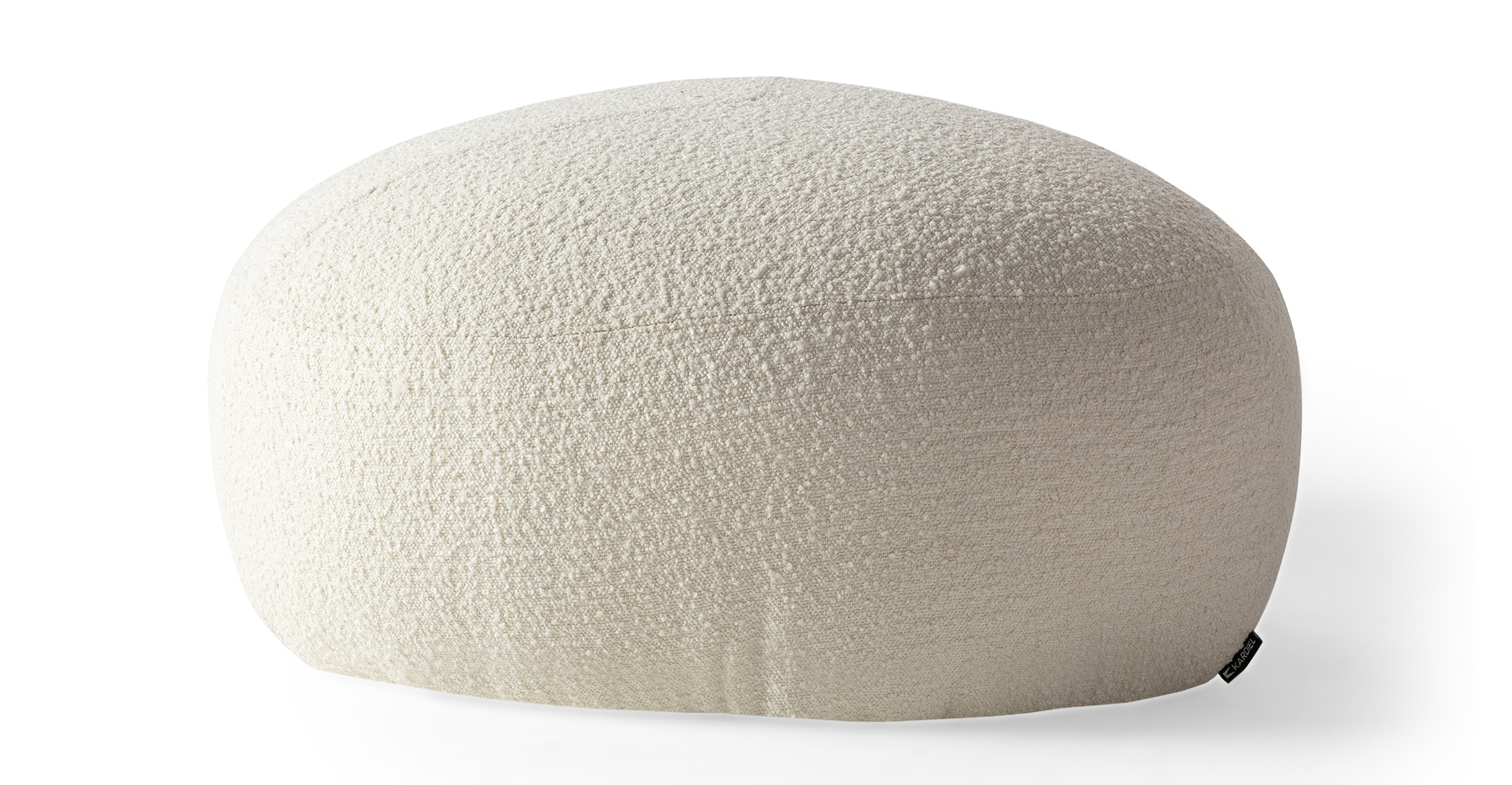 "Boulder 32"" Fabric Ottoman, Cream Boucle"
