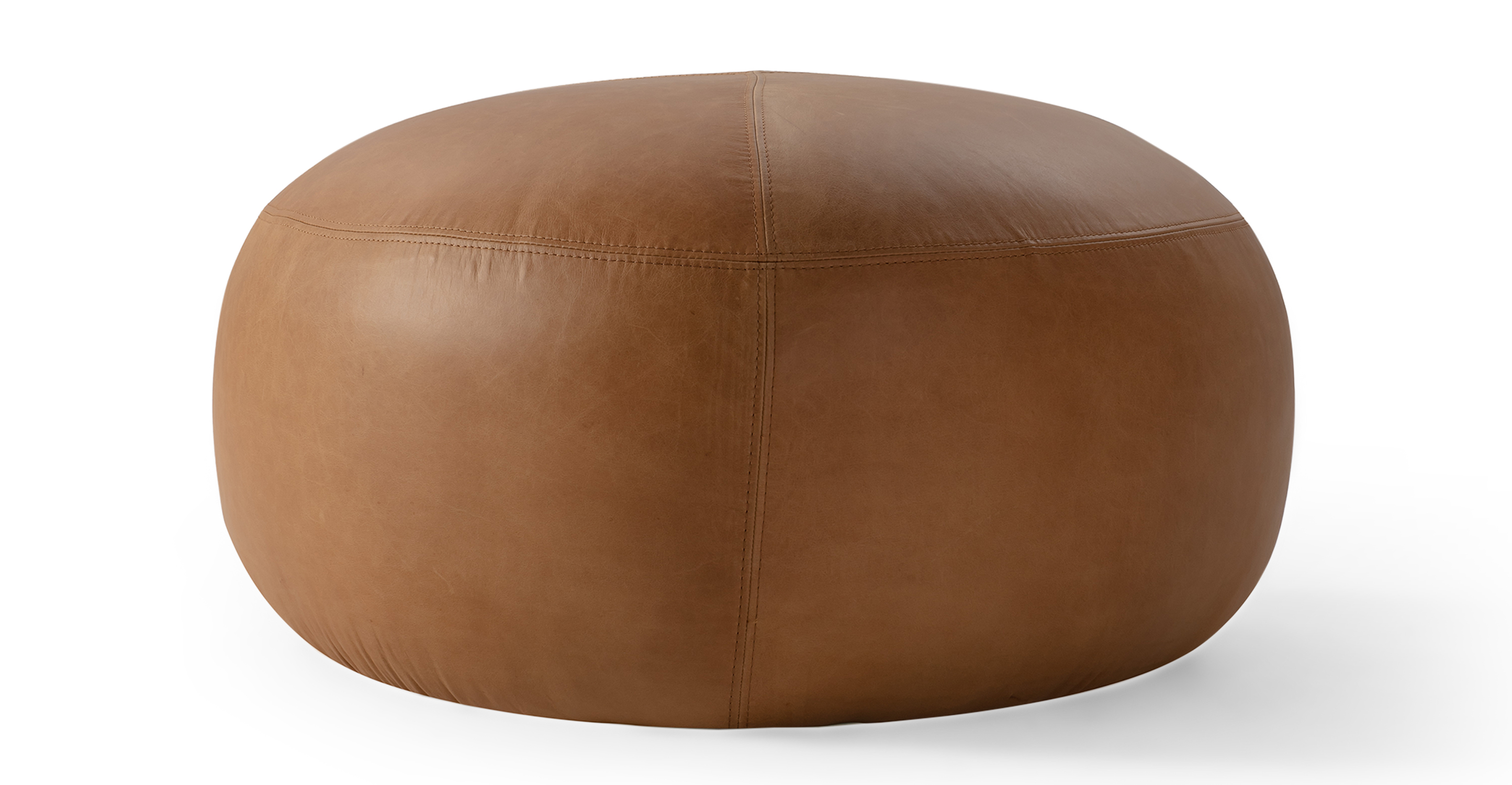 """Boulder 32"""" Leather Ottoman, Milano Russet"""