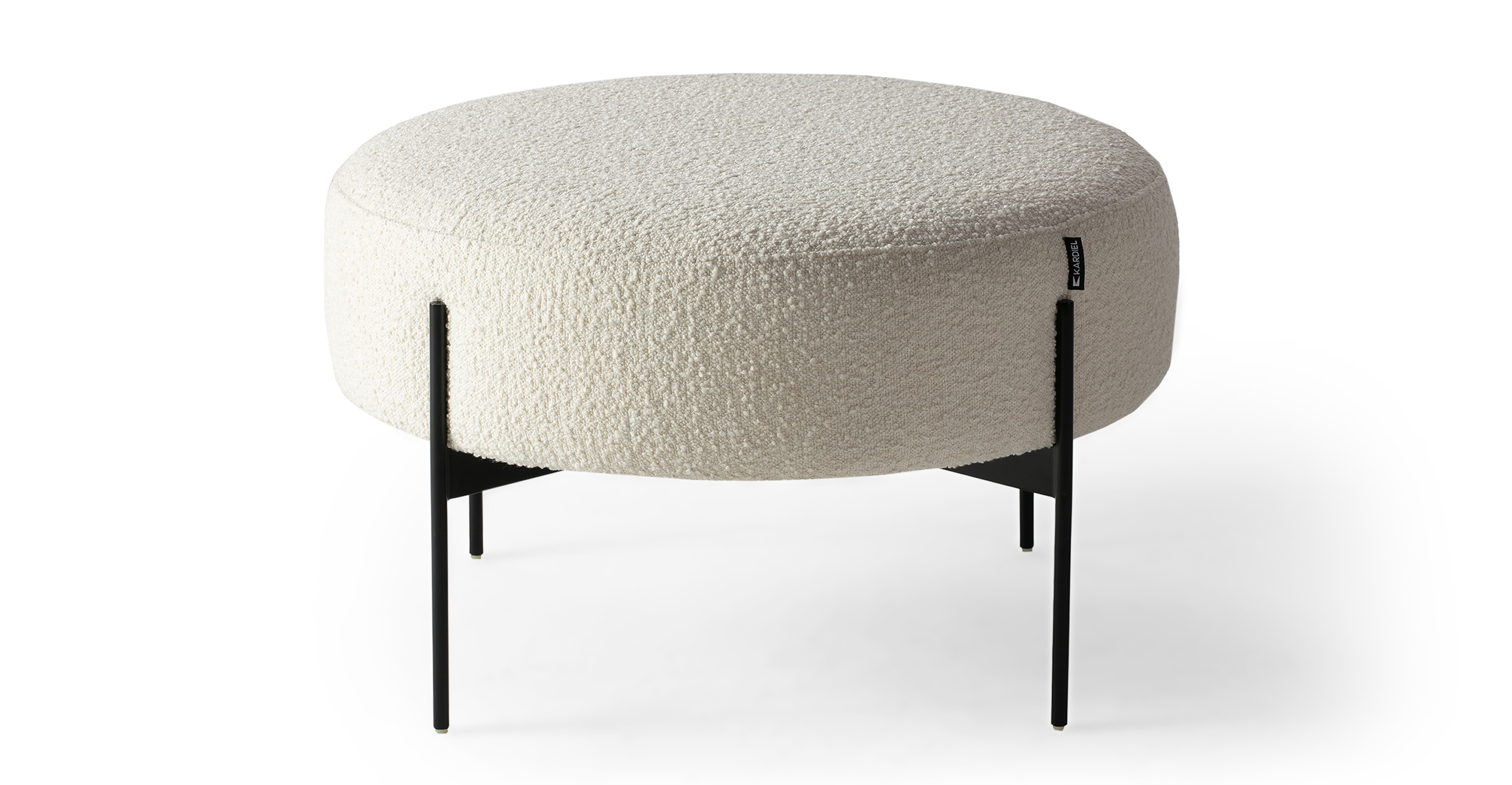 "Dot 27"" Fabric Ottoman, Cream Boucle"