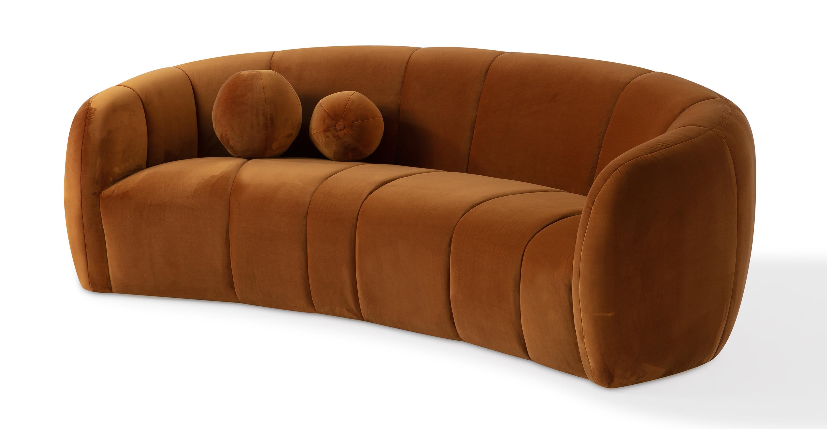 """Alexis 89"""" Fabric Sofa, Ember Velvet"""