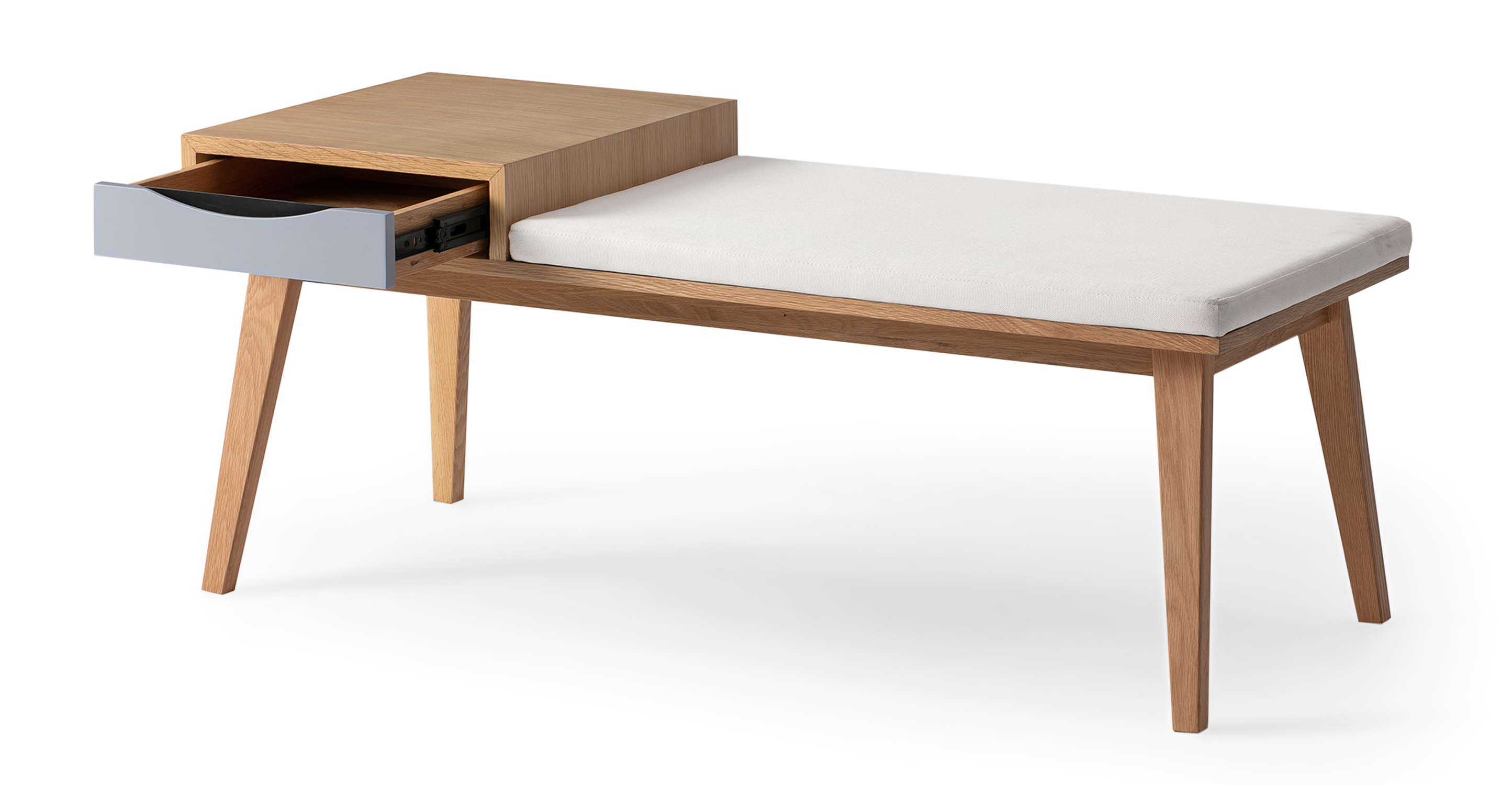 "Color Theory 47"" Bench, Natural Oak"