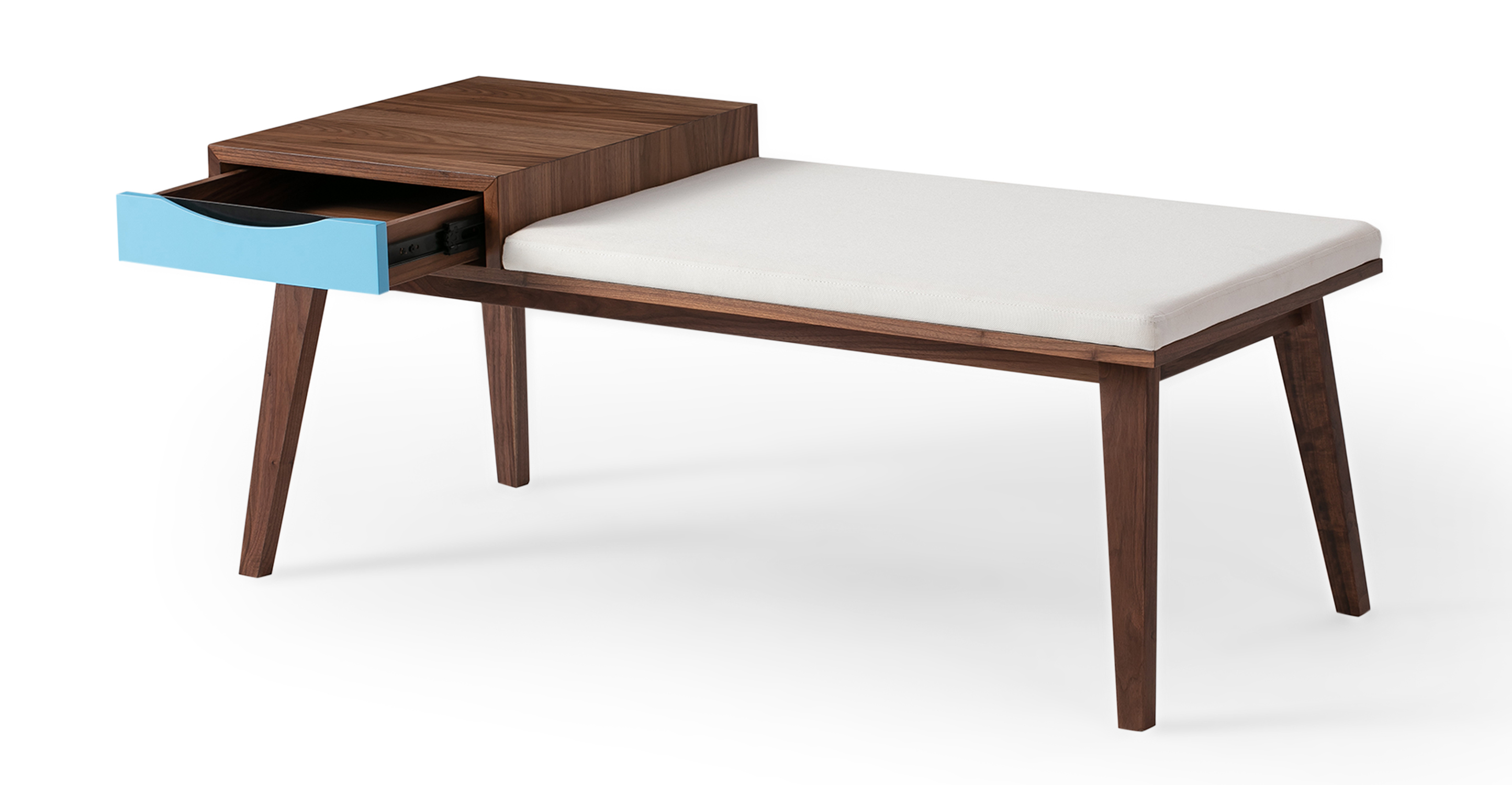 "Color Theory 47"" Bench, Walnut"